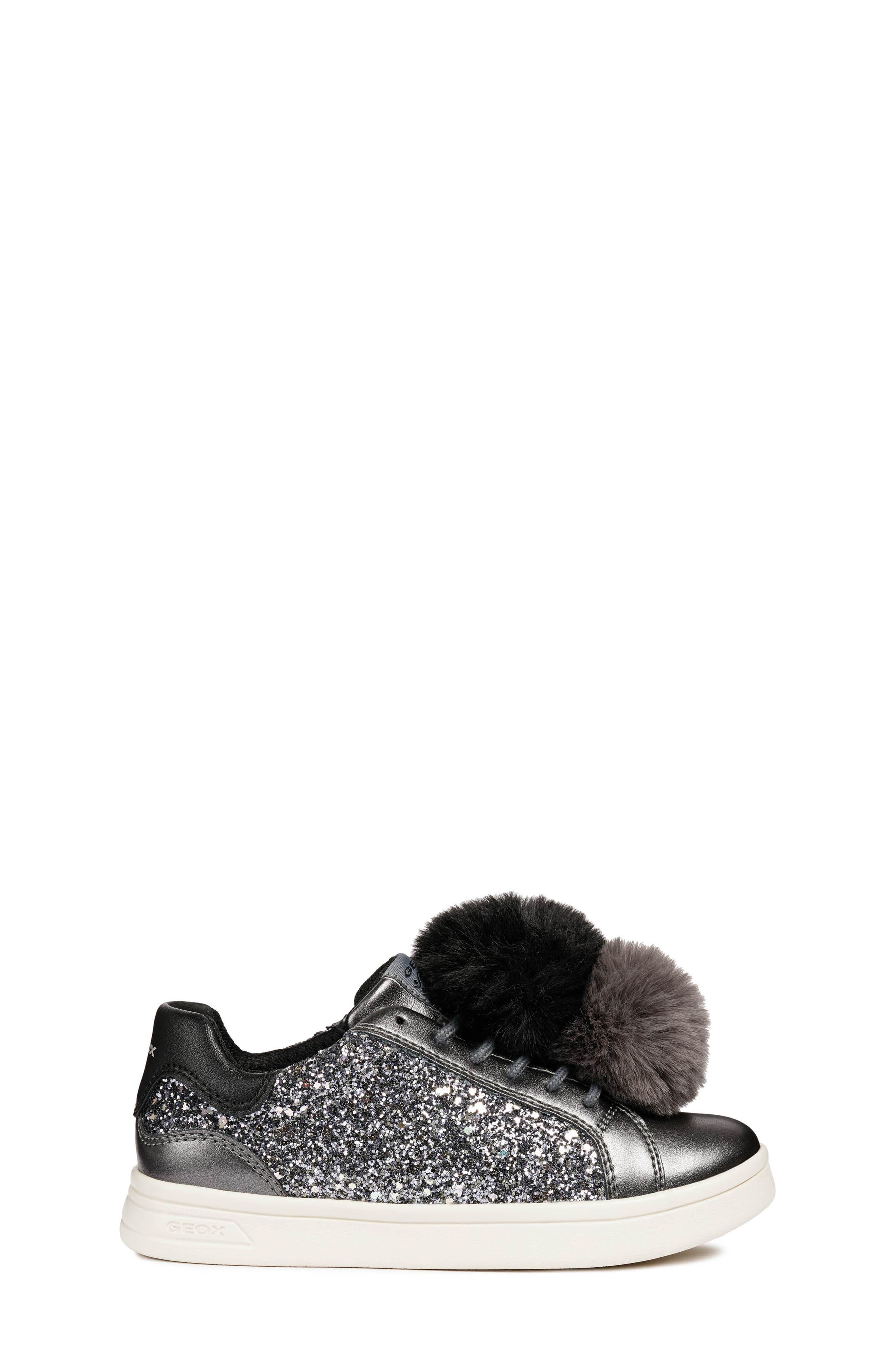 DJ Rock Glitter Pompom Sneaker,                             Alternate thumbnail 3, color,                             DARK GREY