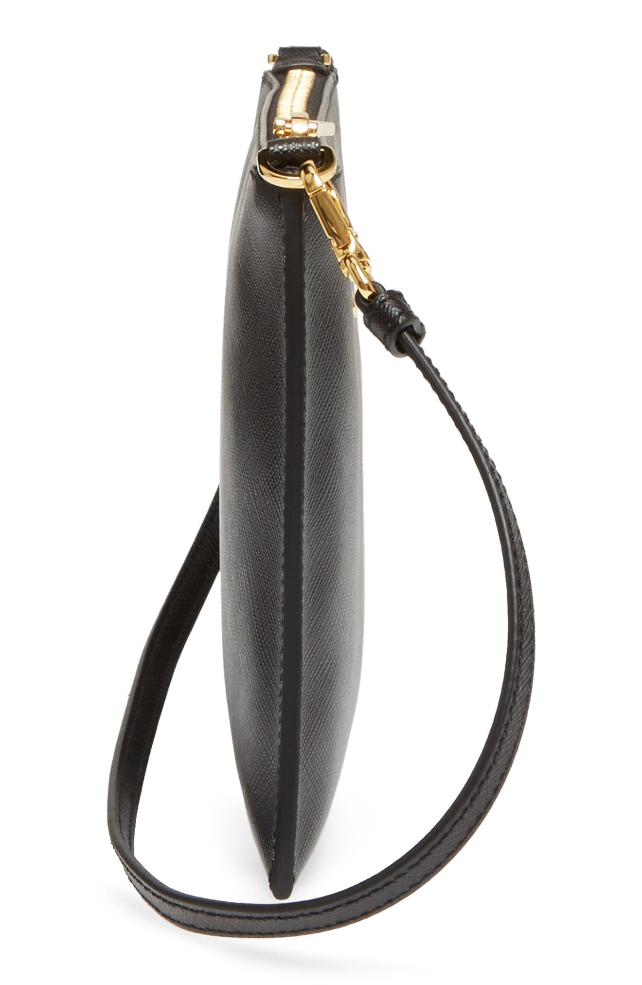 Small Saffiano Leather Shoulder Bag,                             Alternate thumbnail 5, color,                             F0002 NERO