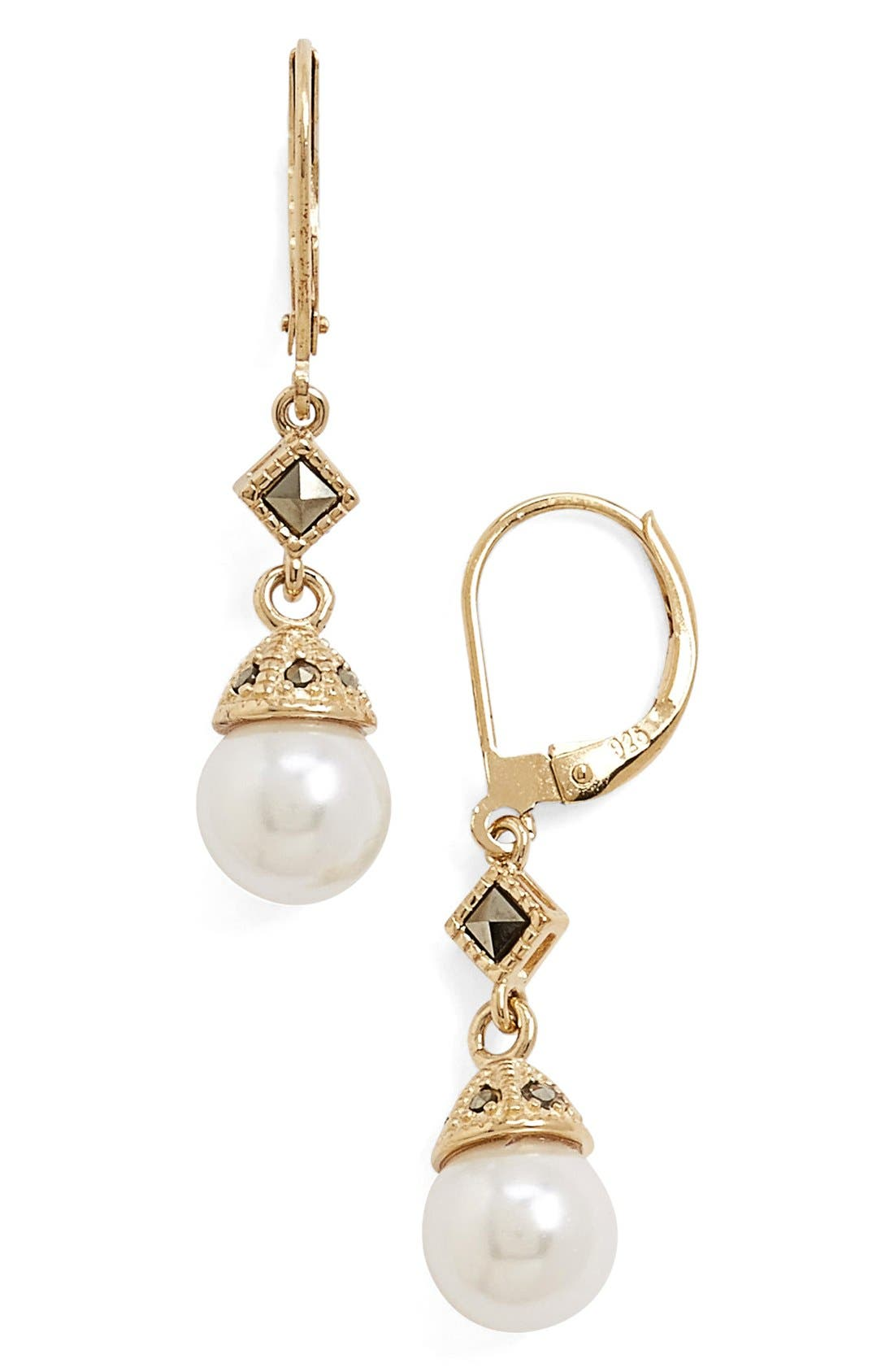 Imitation Pearl Drop Earrings,                             Main thumbnail 1, color,
