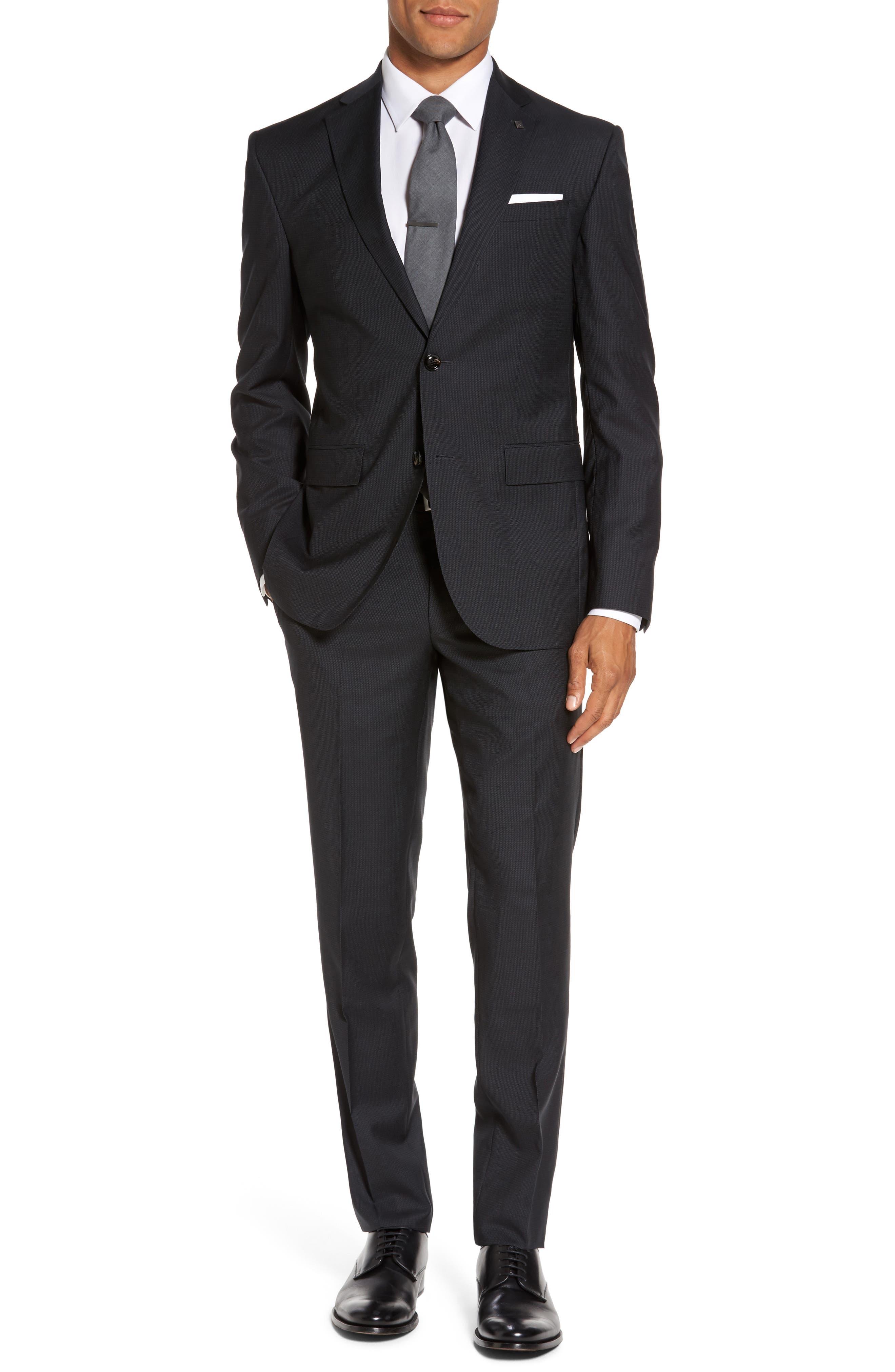 Roger Trim Fit Solid Wool Suit,                         Main,                         color, 001