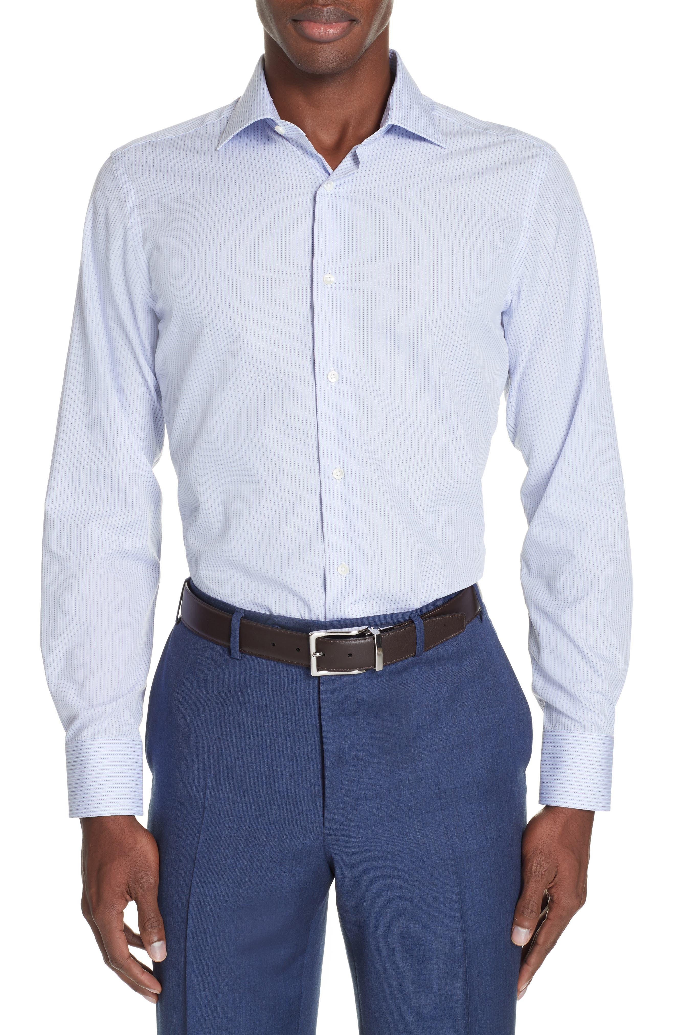 Trim Fit Stripe Dress Shirt,                         Main,                         color, MED BLUE