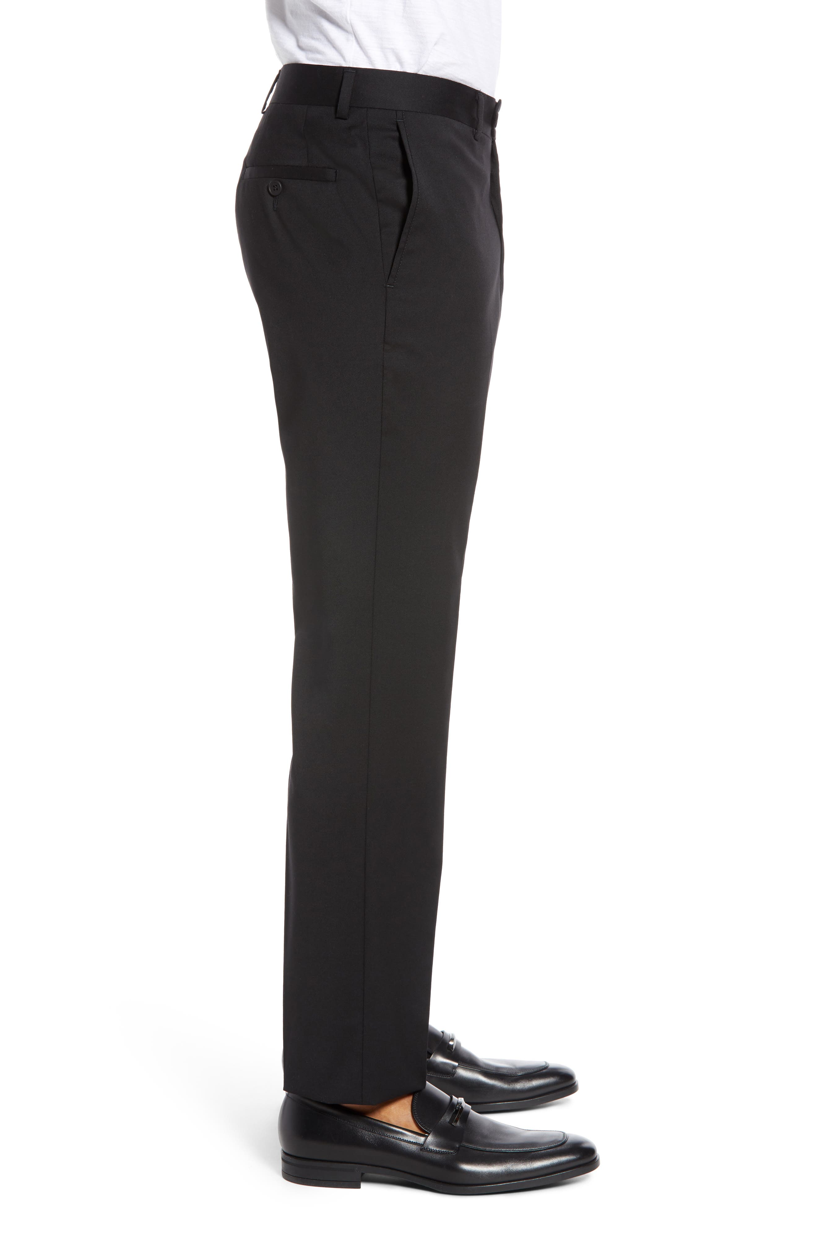 Trim Fit Stretch Wool Trousers,                             Alternate thumbnail 3, color,                             BLACK