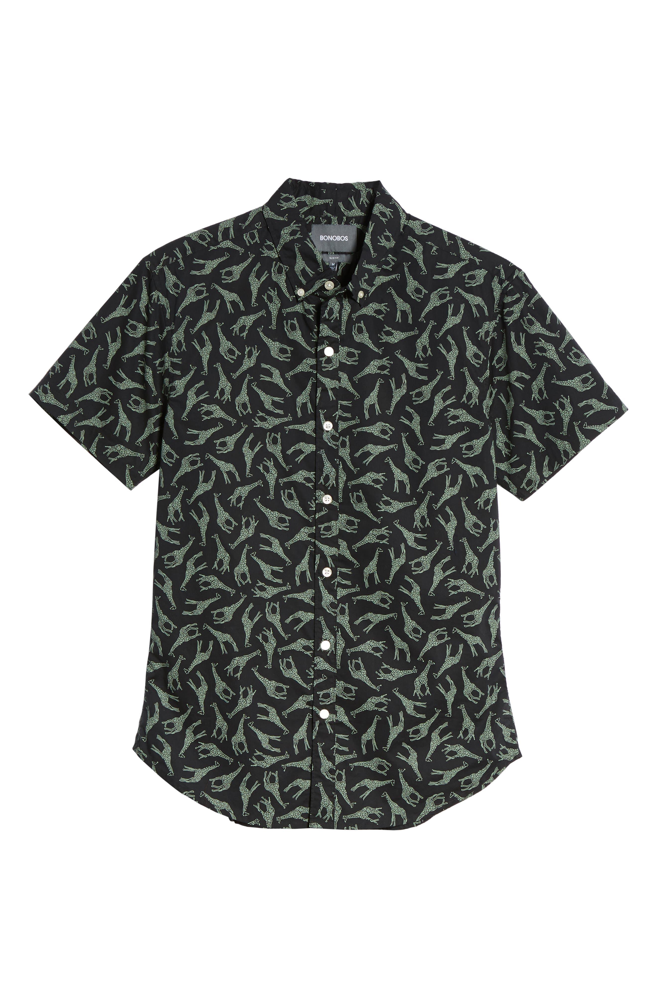 BONOBOS,                             Riviera Slim Fit Giraffe Print Sport Shirt,                             Alternate thumbnail 6, color,                             001