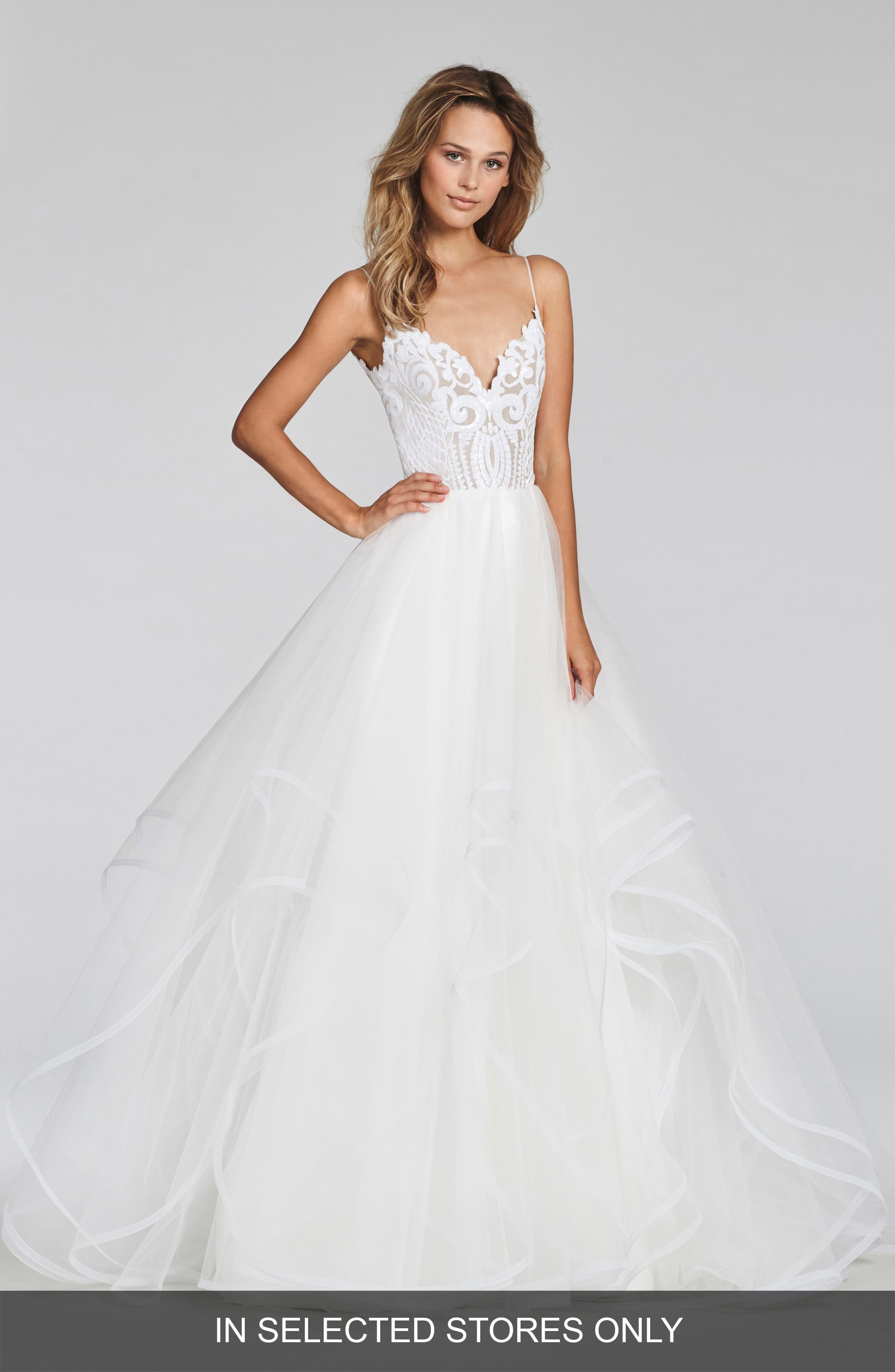 Blush By Hayley Paige Pepper Beaded Tulle Ballgown, Size - Ivory