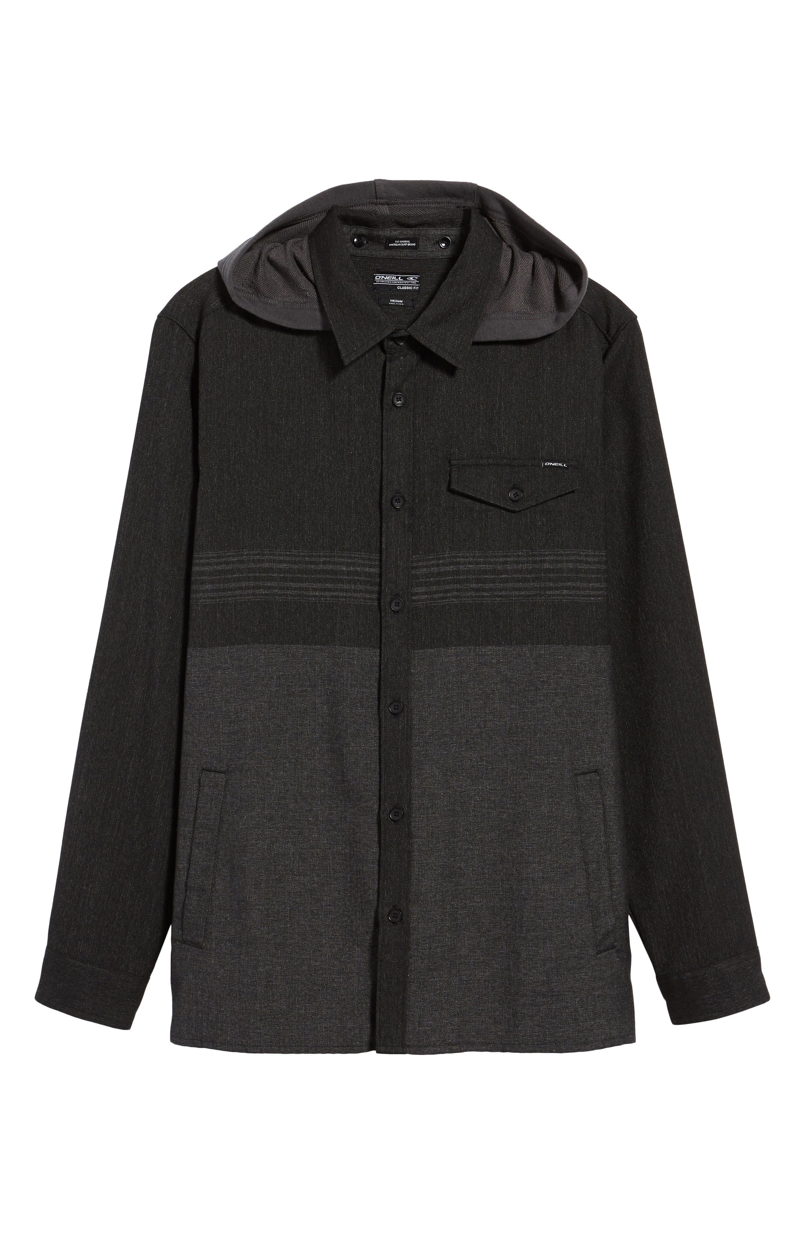 Jacinto Hooded Flannel Shirt,                             Alternate thumbnail 6, color,                             001
