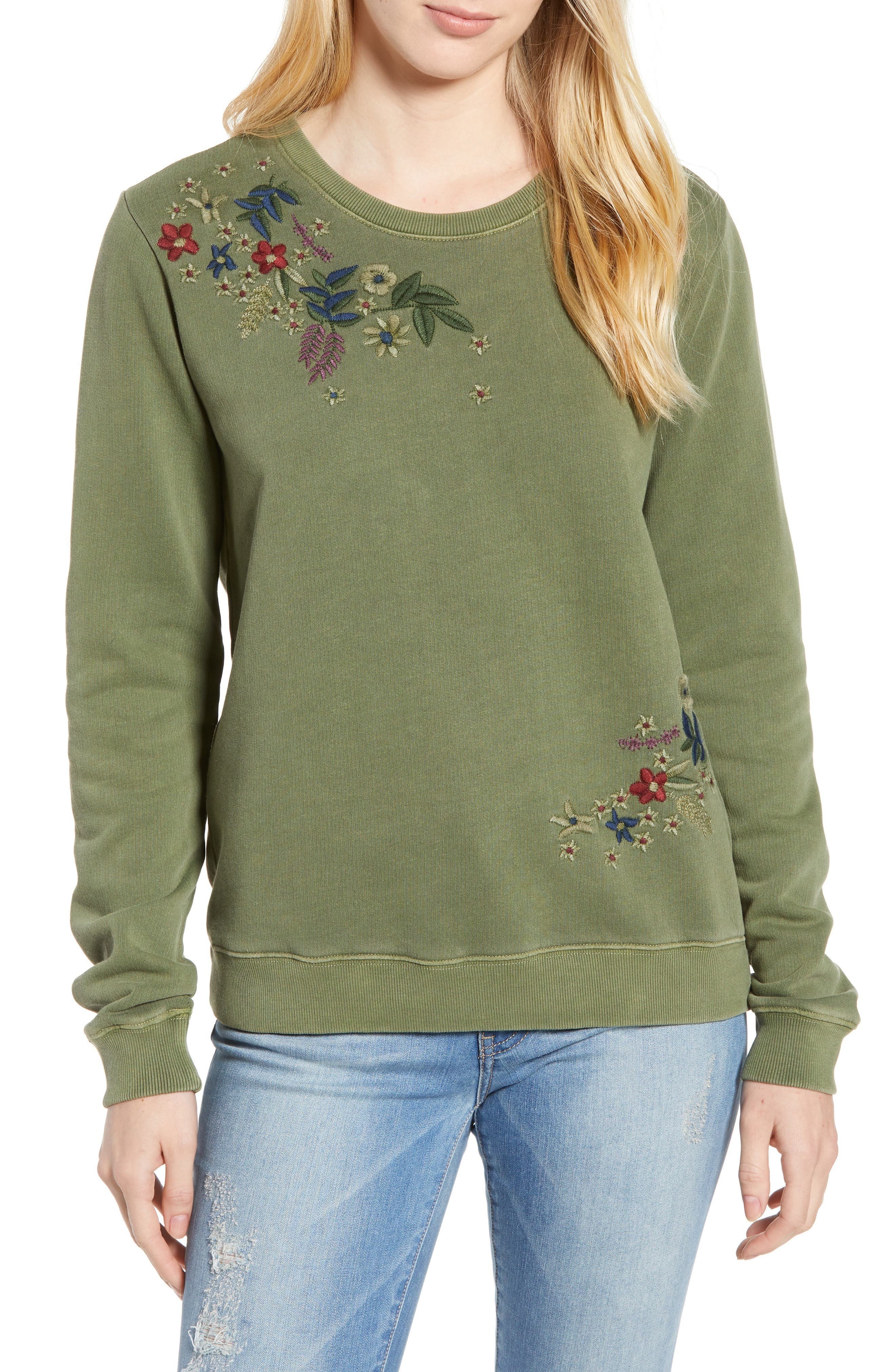 Embroidered Flowers Sweatshirt,                             Main thumbnail 1, color,                             OLIVE KNIT