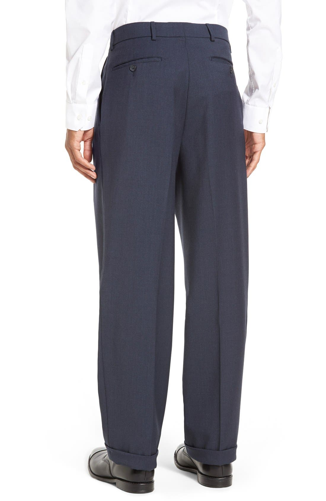 Pleated Solid Wool Trousers,                             Alternate thumbnail 26, color,