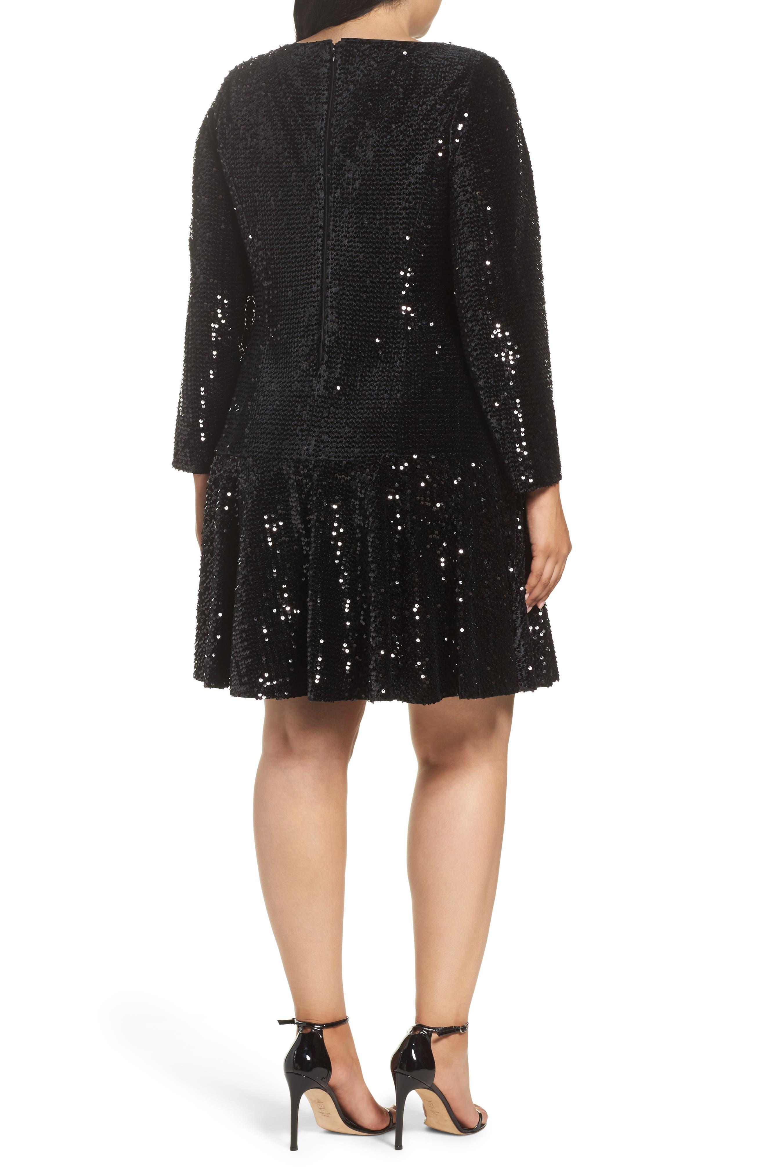 Sequin Drop Waist Dress,                             Alternate thumbnail 2, color,                             001