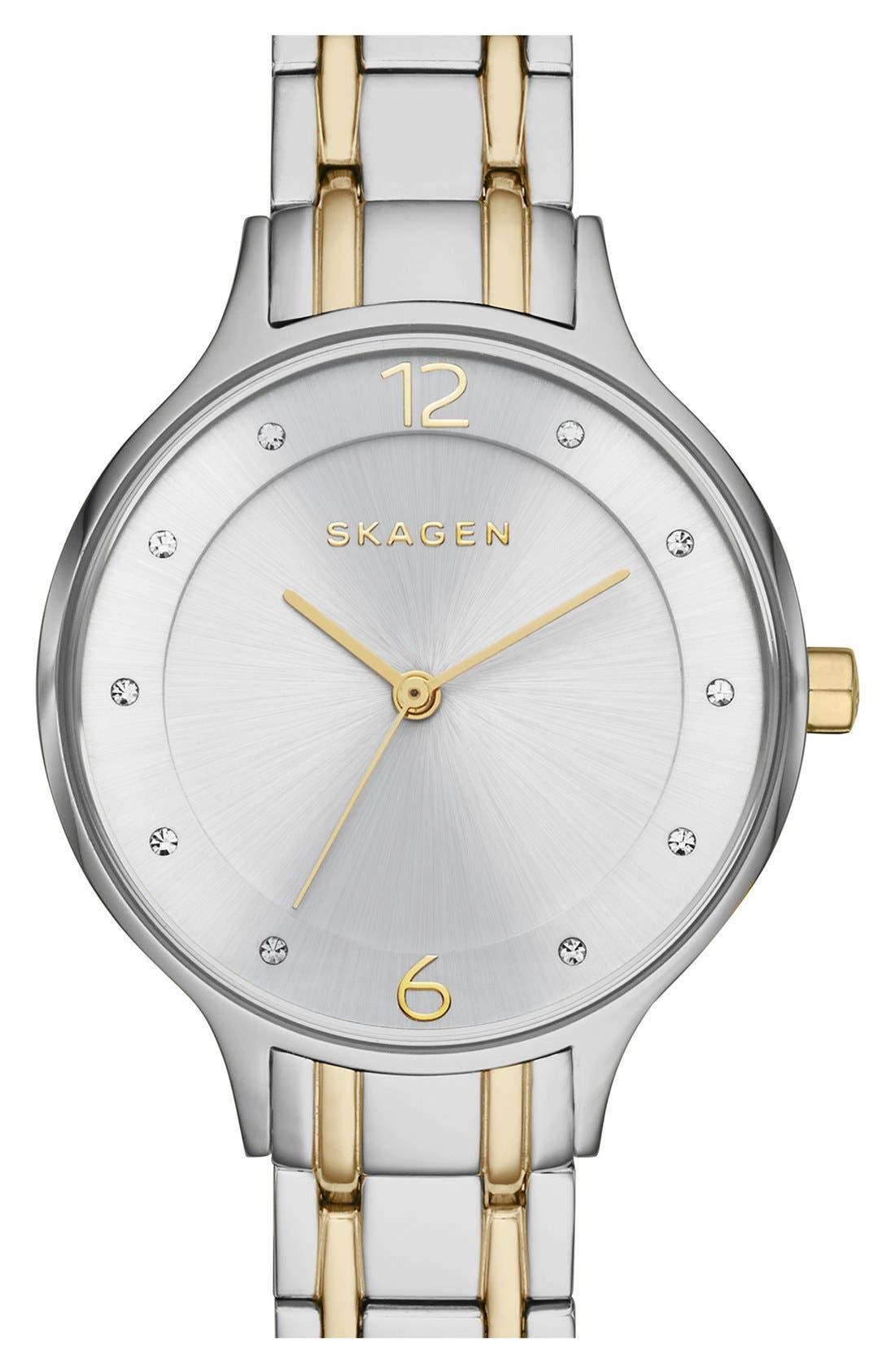 SKAGEN,                             'Anita' Crystal Index Bracelet Watch, 30mm,                             Main thumbnail 1, color,                             SILVER/ GOLD