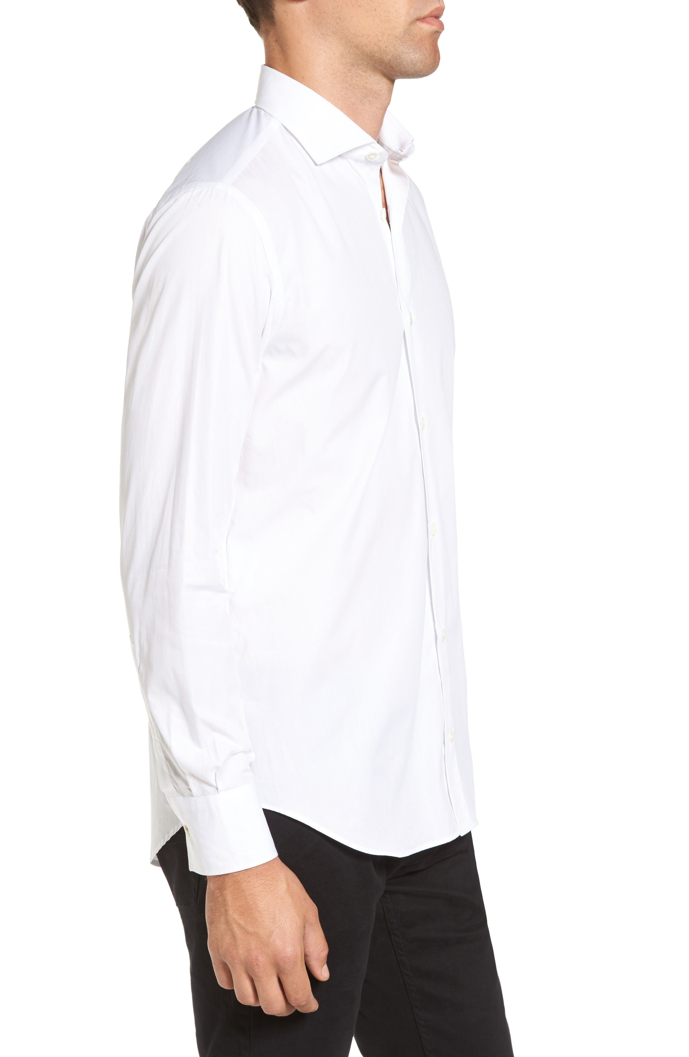 Trim Fit Sport Shirt,                             Alternate thumbnail 3, color,                             WHITE