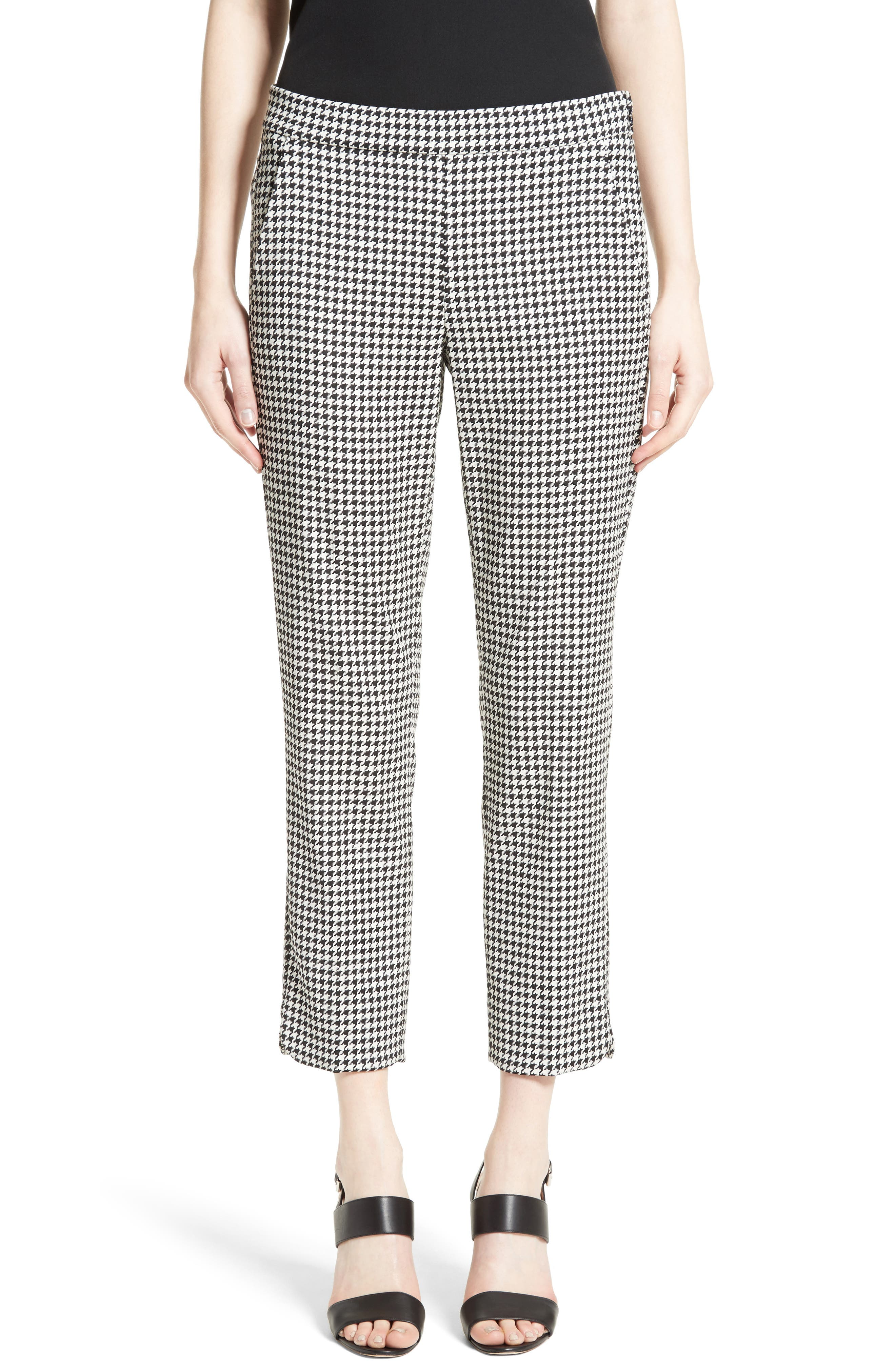 Astrale Houndstooth Wool Blend Pants,                         Main,                         color, 001