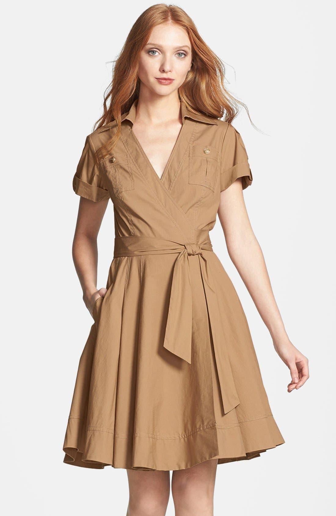 'Kaley' Pleated Cotton Blend Wrap Dress,                             Alternate thumbnail 4, color,                             250