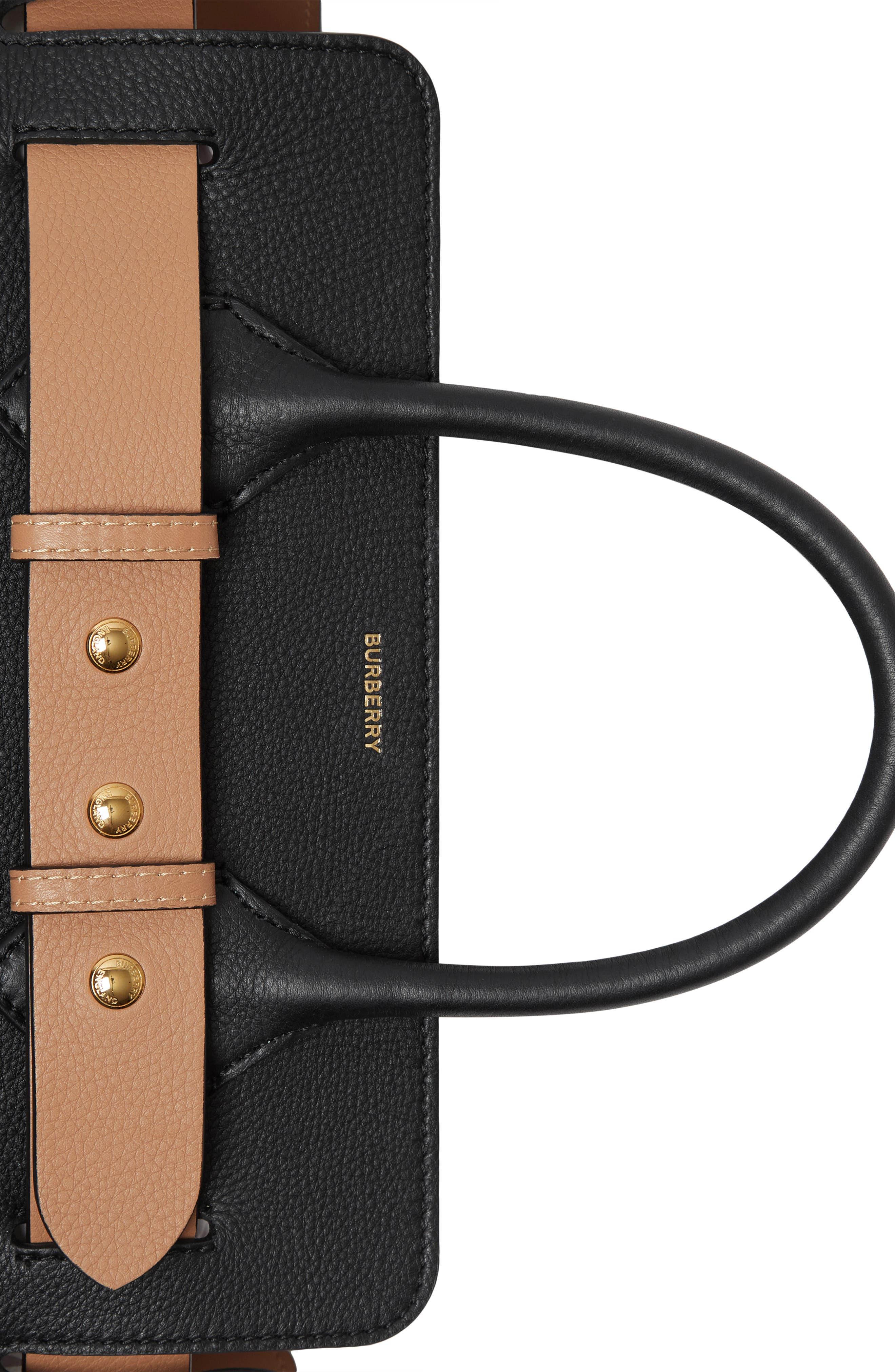 BURBERRY,                             Small Belt Leather Satchel,                             Alternate thumbnail 5, color,                             BLACK