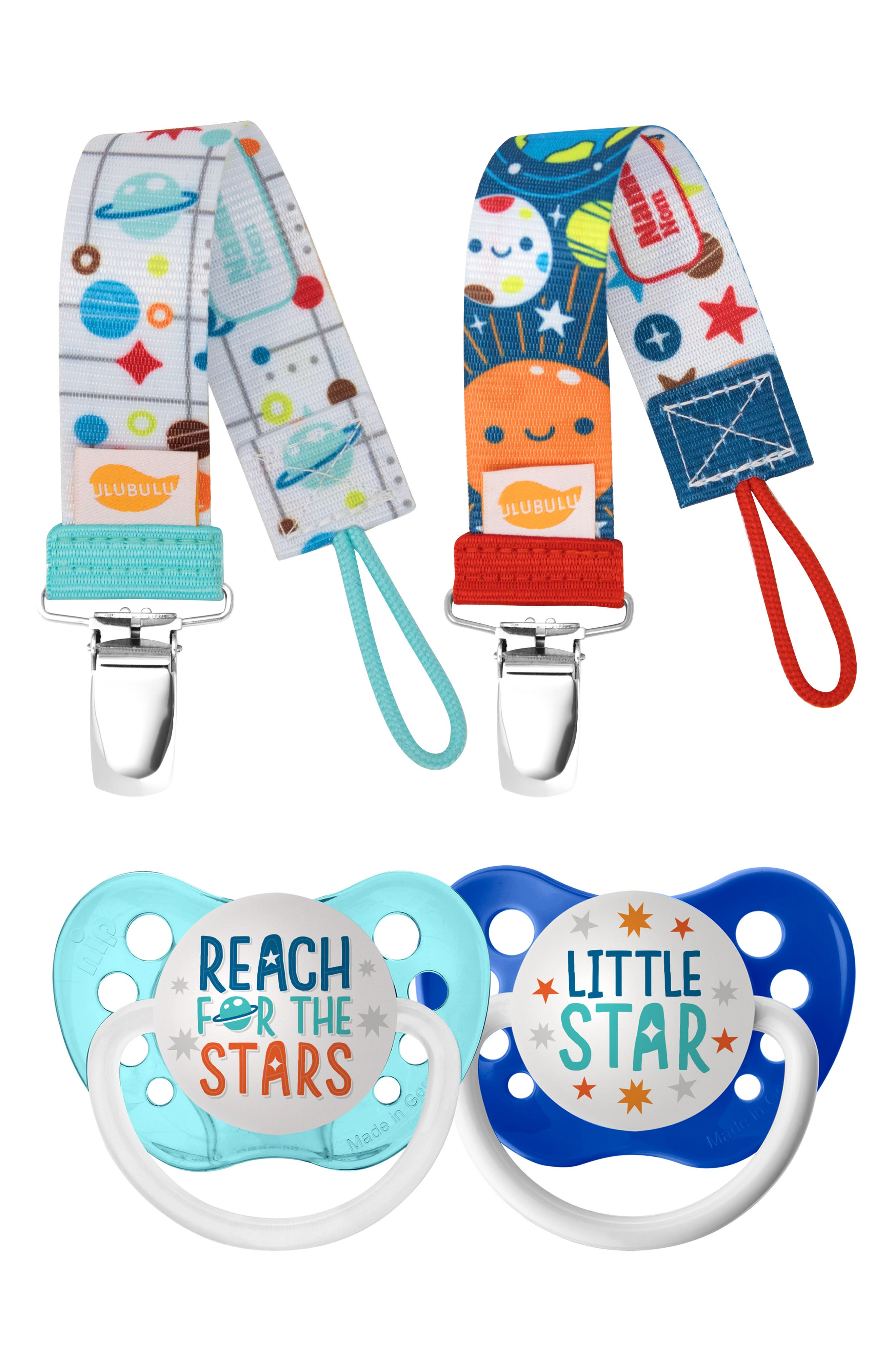 Infant Boys Ulubulu Reach For The Stars 2Pack Pacifier  Clip Set Size 618 M  Blue