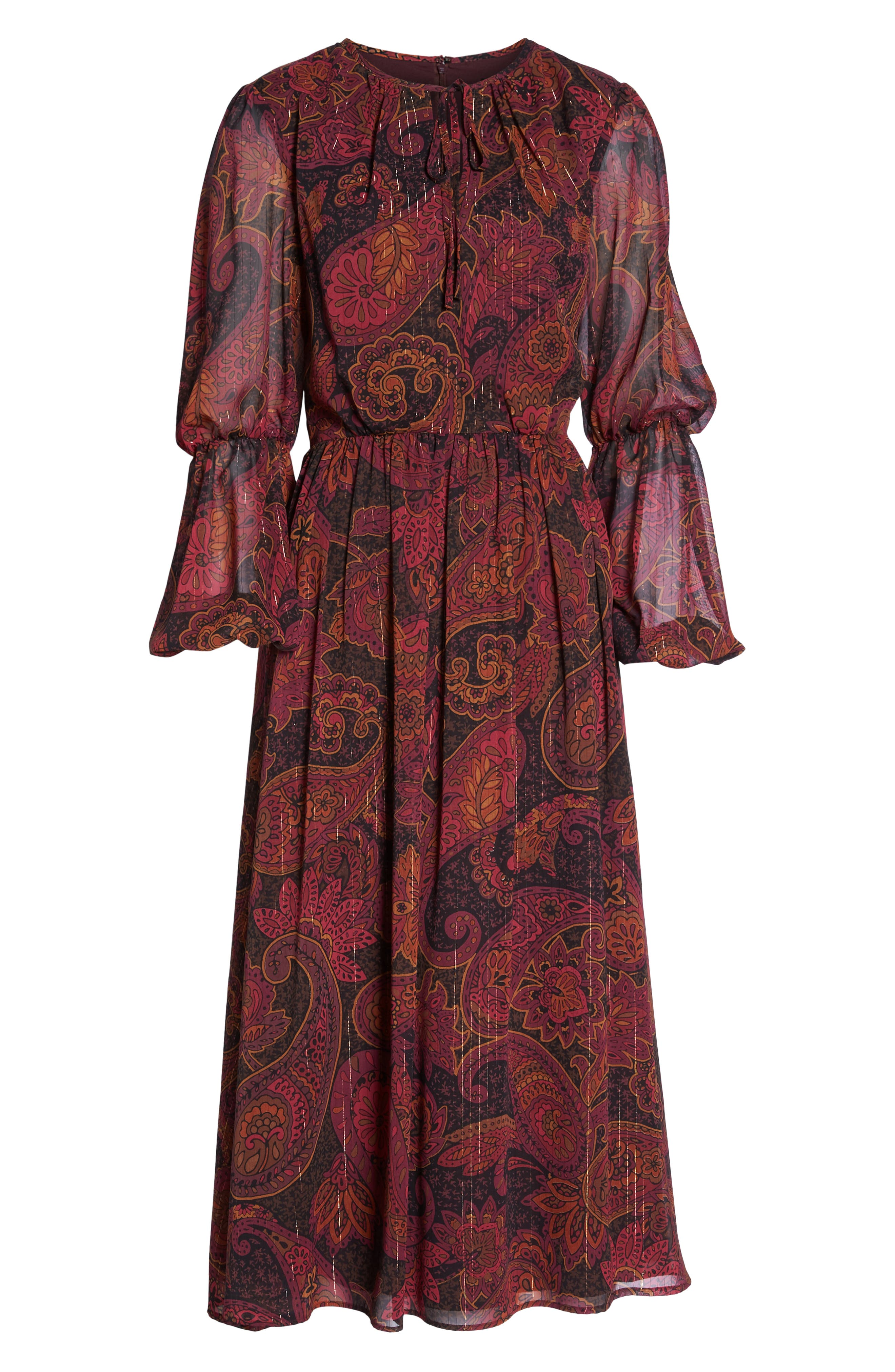 Double Puff Sleeve Midi Dress,                             Alternate thumbnail 7, color,                             BLACK / CABERNET