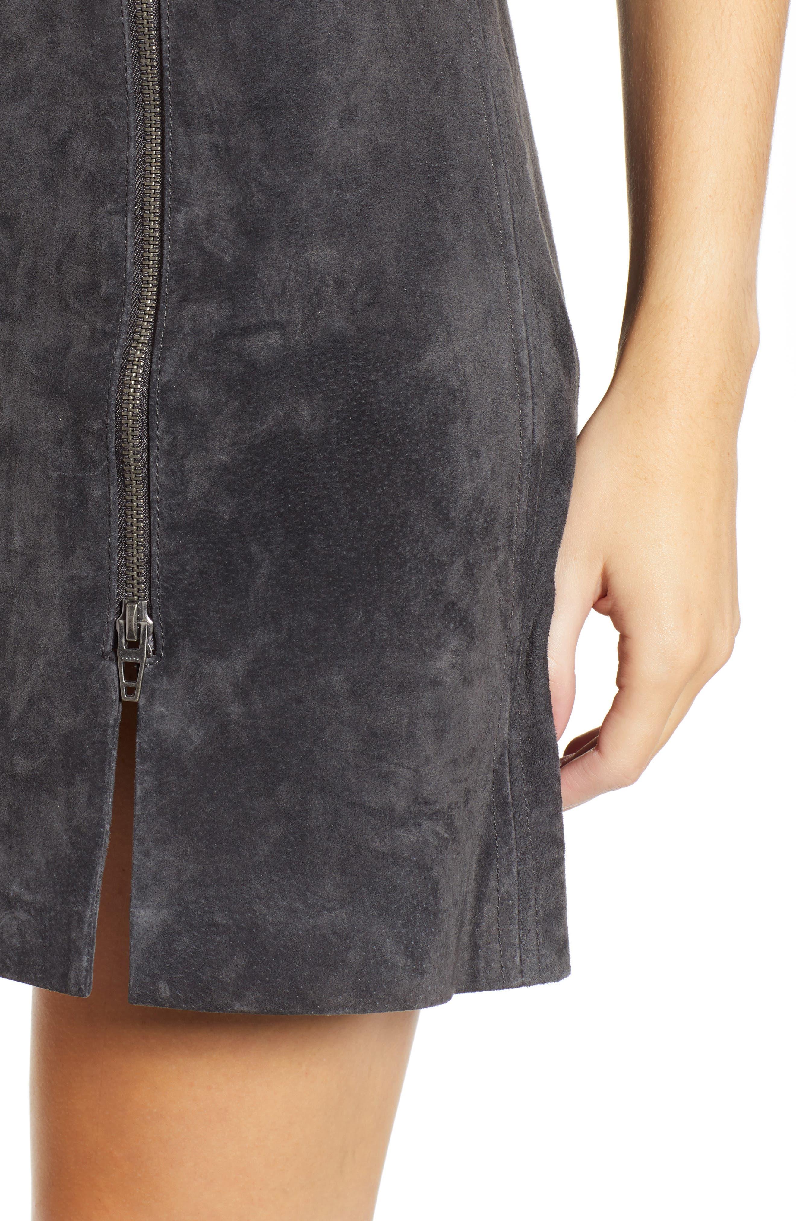 A-Line Suede Miniskirt,                             Alternate thumbnail 4, color,                             020