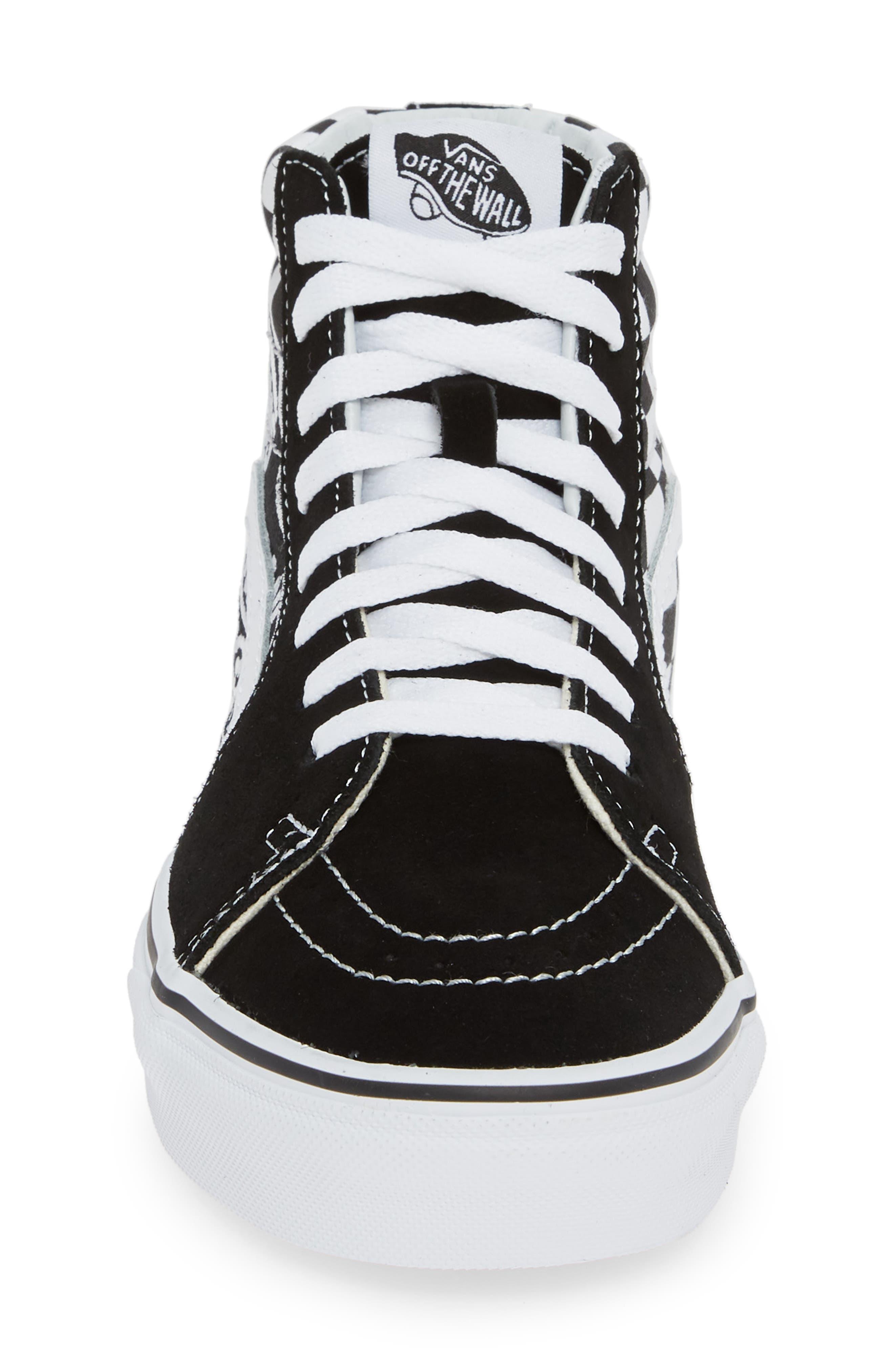 Sk8-Hi Patch High Top Sneaker,                             Alternate thumbnail 4, color,                             BLACK/ TRUE WHITE