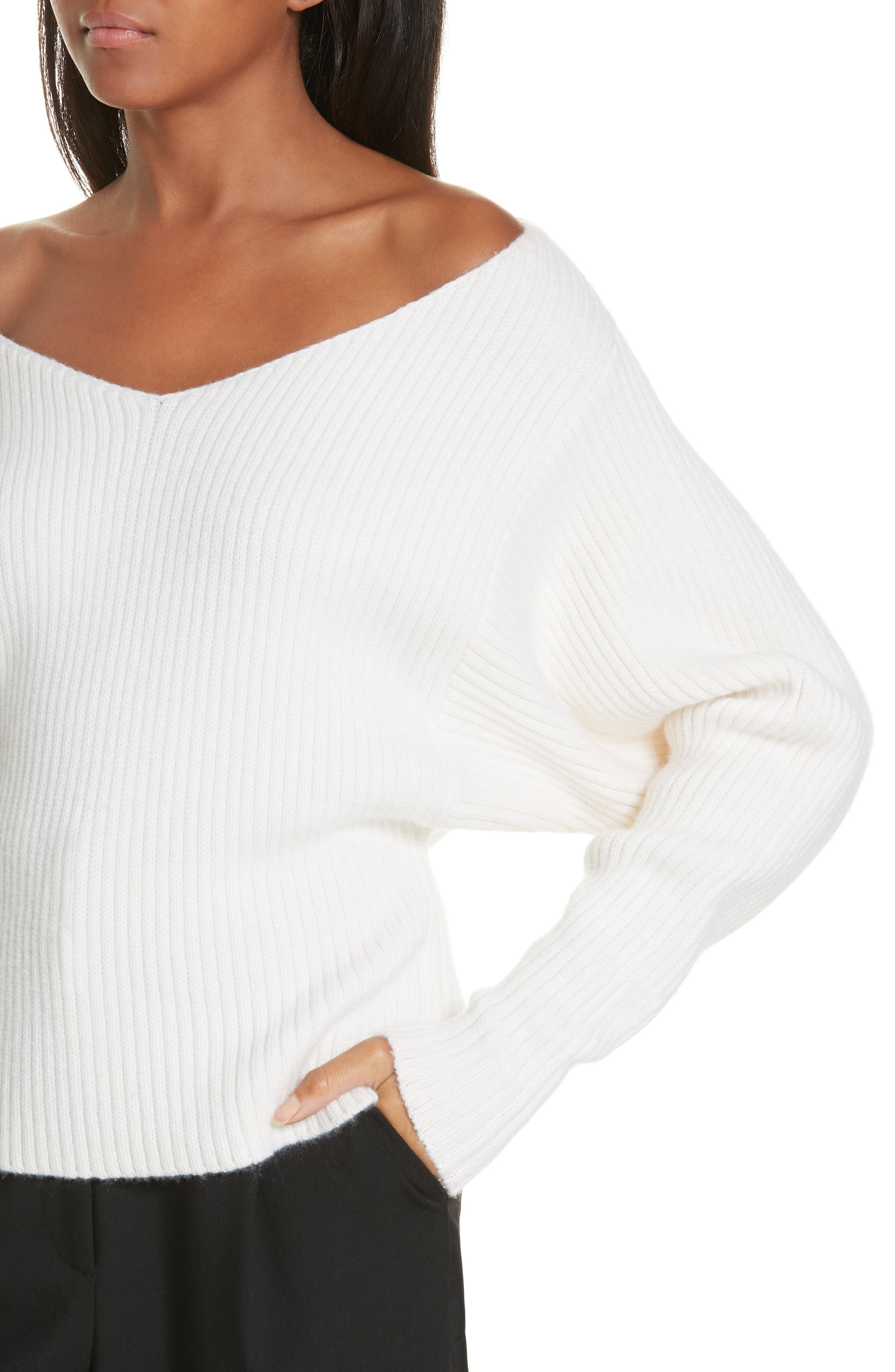 Off the Shoulder Wool & Cashmere Sweater,                             Alternate thumbnail 4, color,                             CREAM