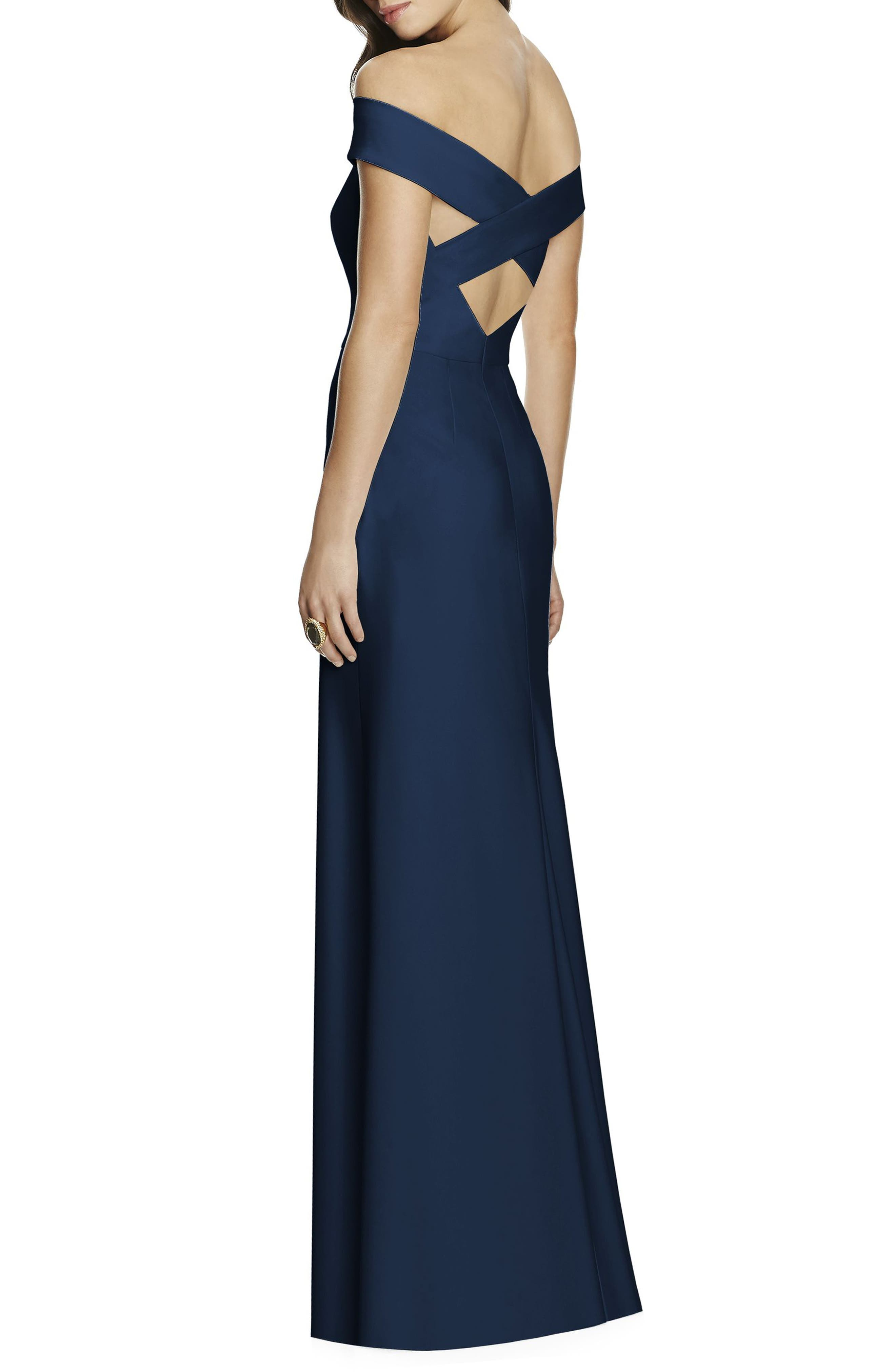 Off the Shoulder Crepe Gown,                             Alternate thumbnail 2, color,                             MIDNIGHT