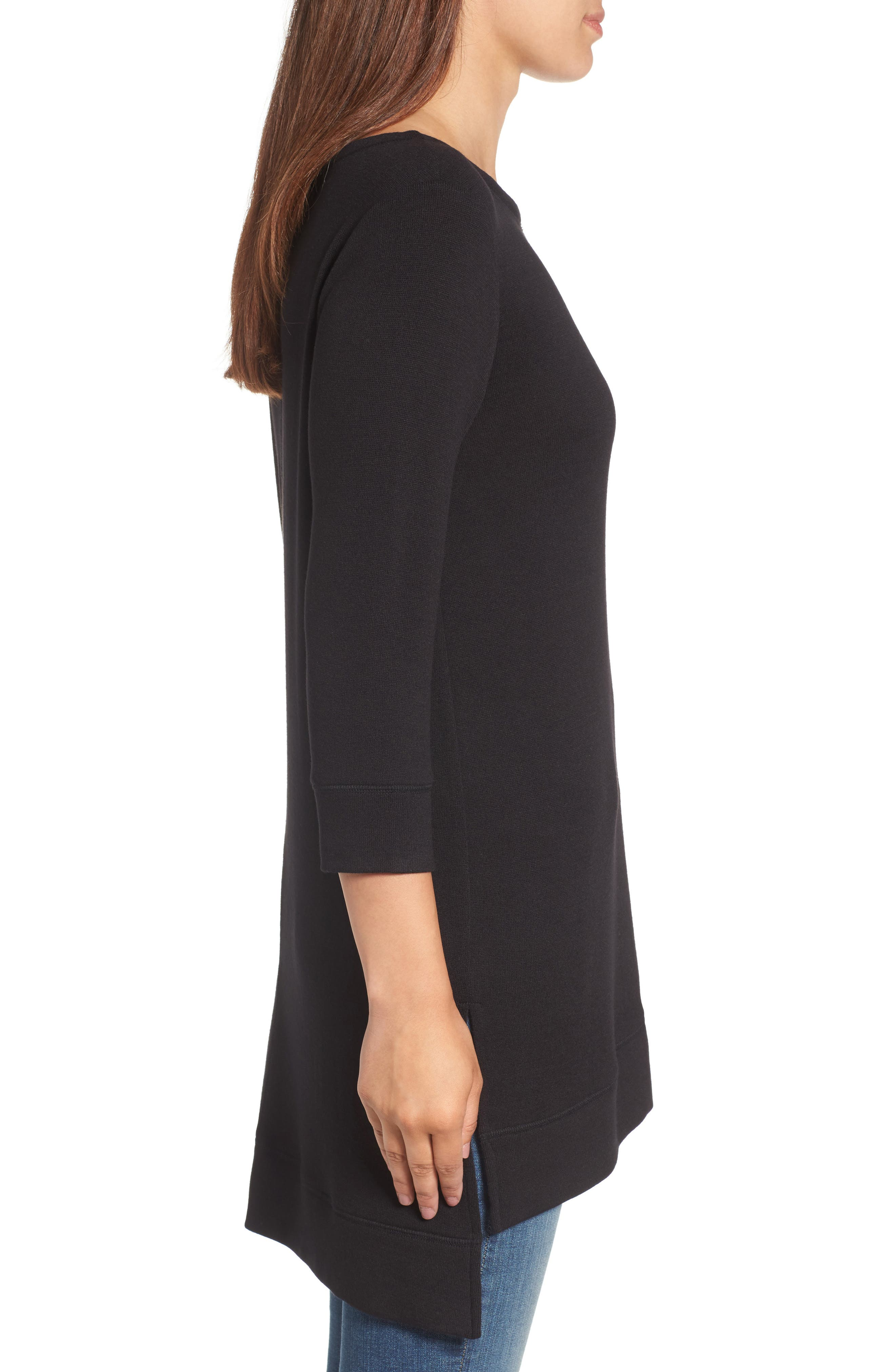 Three Quarter Sleeve Side Slit Tunic,                             Alternate thumbnail 3, color,                             001