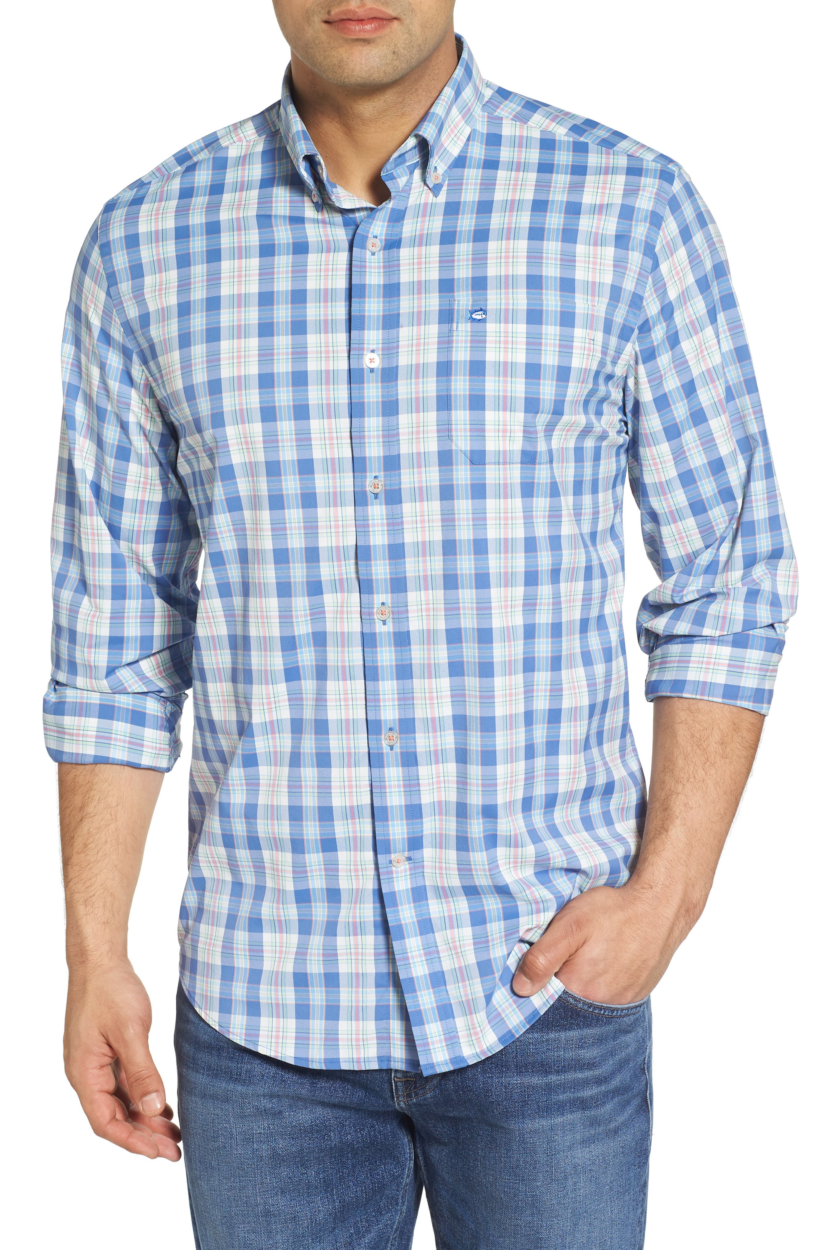 Great Harbor Regular Fit Plaid Stretch Sport Shirt,                             Main thumbnail 1, color,                             466