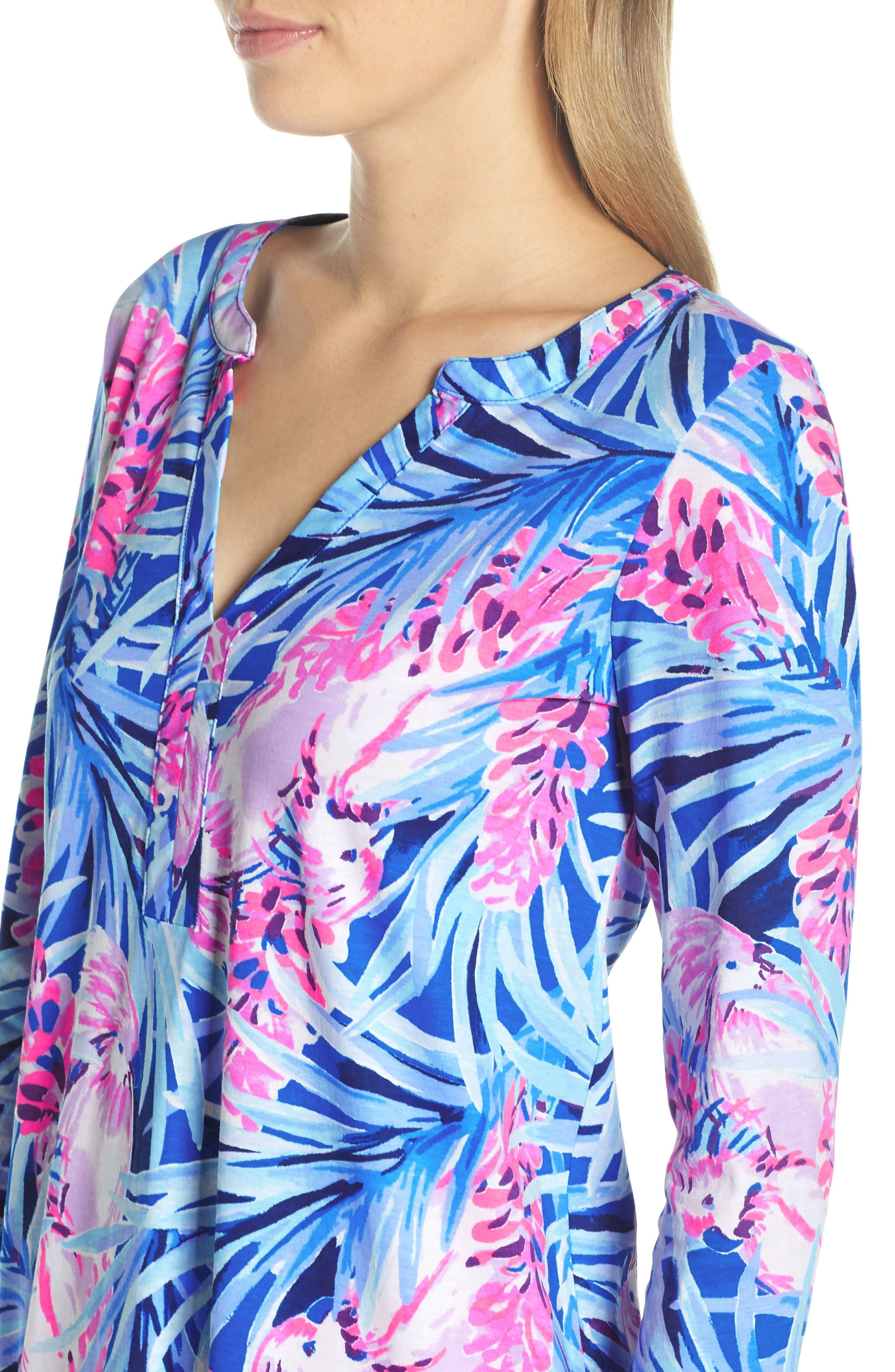 Daphne Shift Dress,                             Alternate thumbnail 4, color,                             MR PEACOCK BLUE TWEETHEARTS