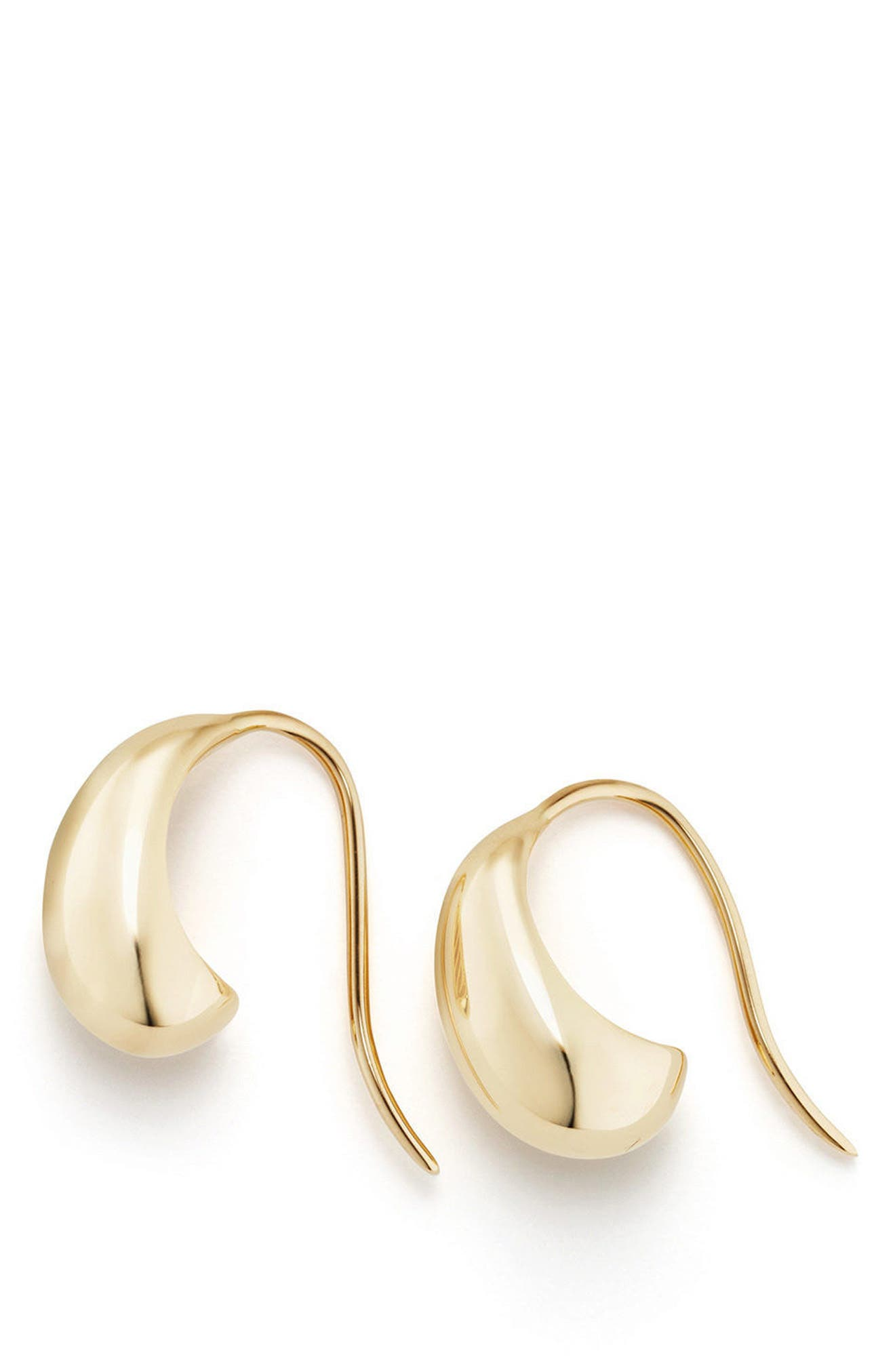 Pure Form Pod Earrings with Diamonds in 18K Gold, 15mm,                             Alternate thumbnail 2, color,                             YELLOW GOLD