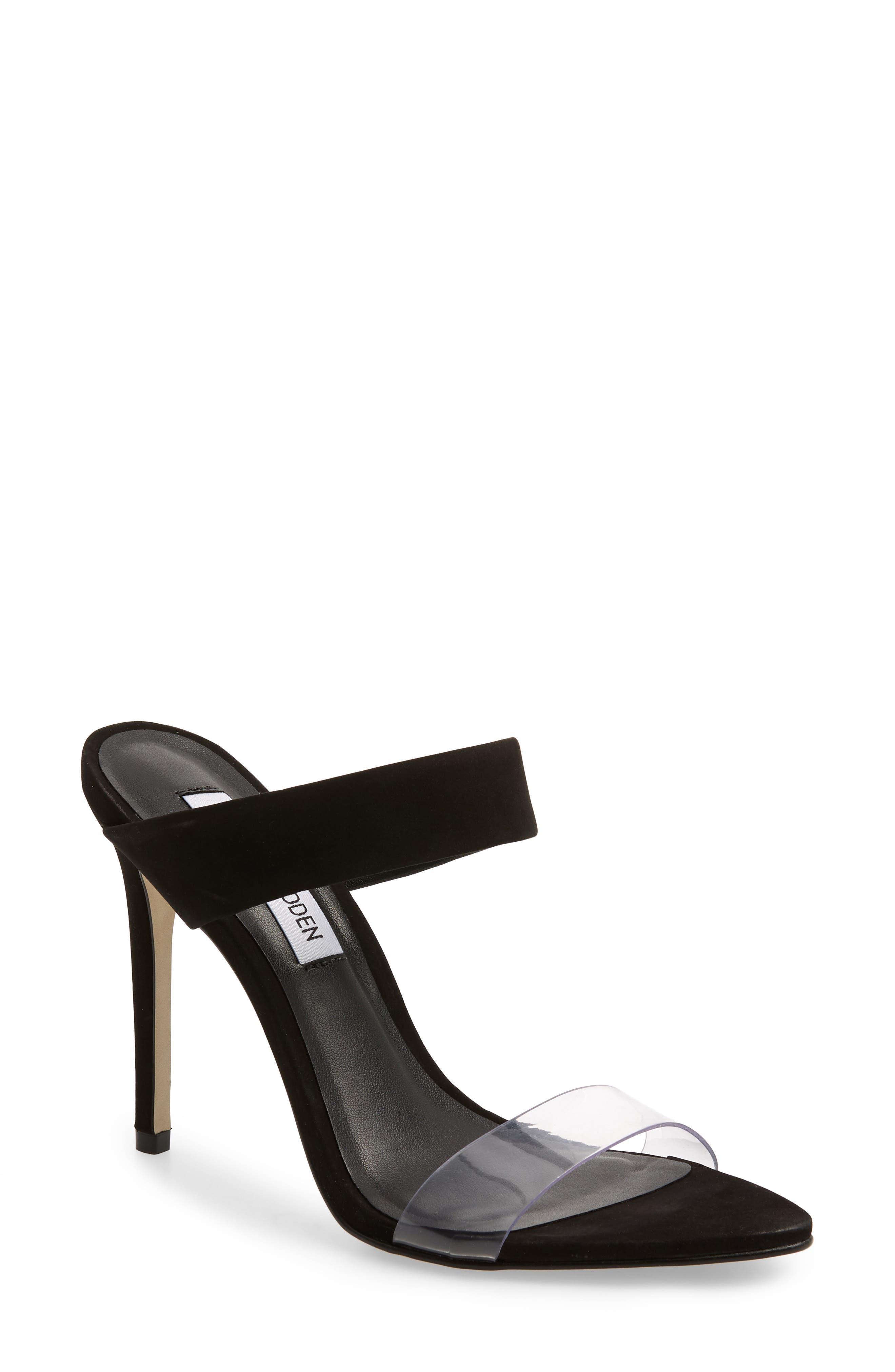 Amaya Clear Slide Sandal,                         Main,                         color, BLACK NUBUCK LEATHER