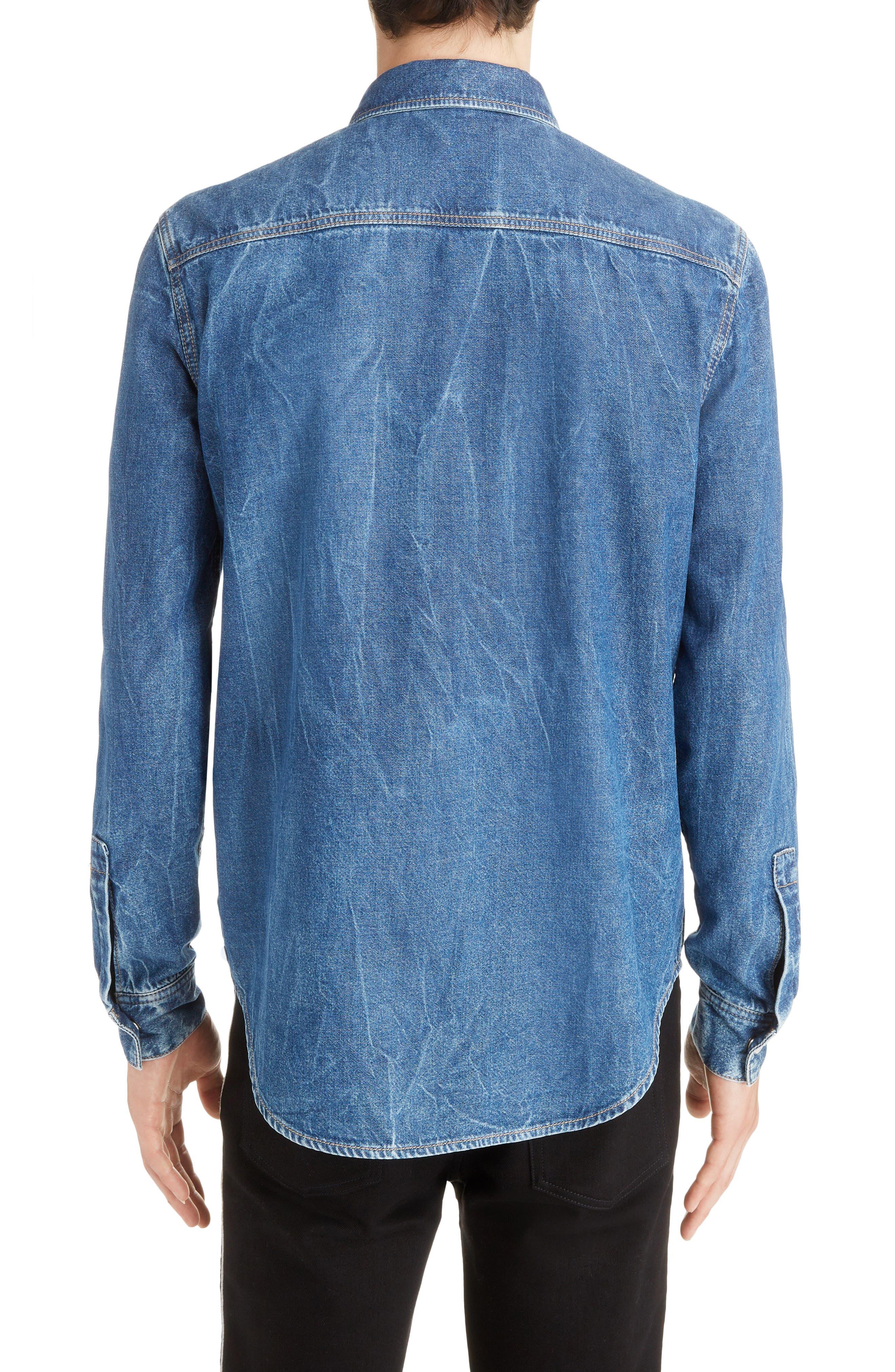 GIVENCHY,                             Denim Shirt,                             Alternate thumbnail 3, color,                             MEDIUM BLUE