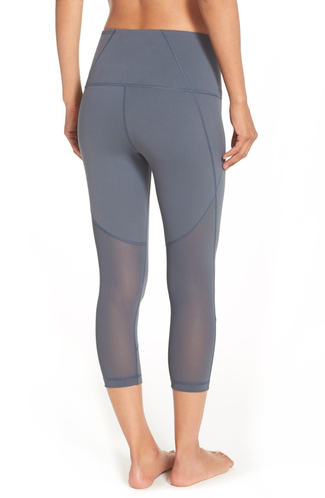 'Live In - Sultry' High Waist Mesh Crop Leggings,                             Main thumbnail 9, color,