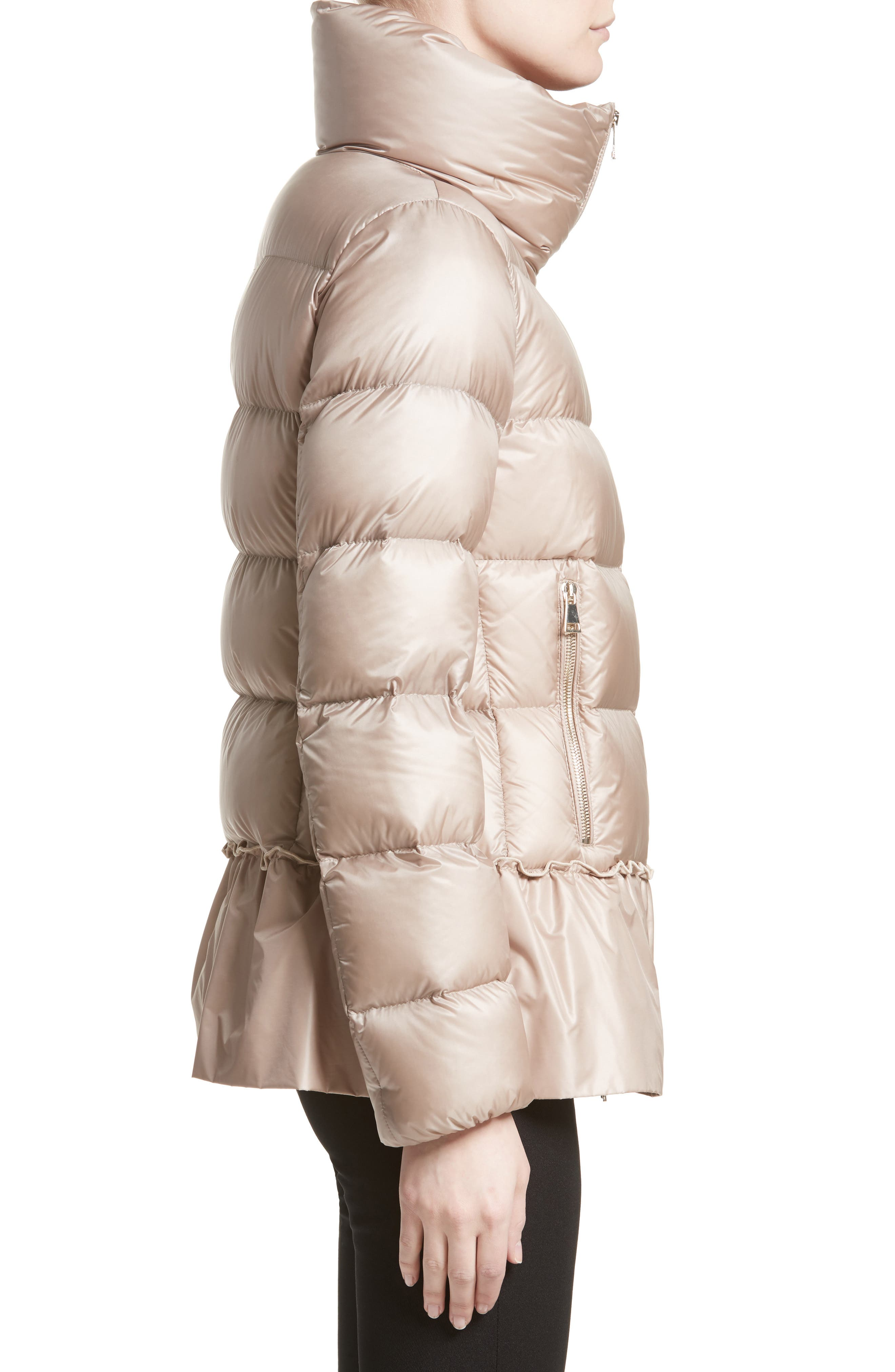 Anet Peplum Down Puffer Jacket,                             Alternate thumbnail 4, color,                             NATURAL