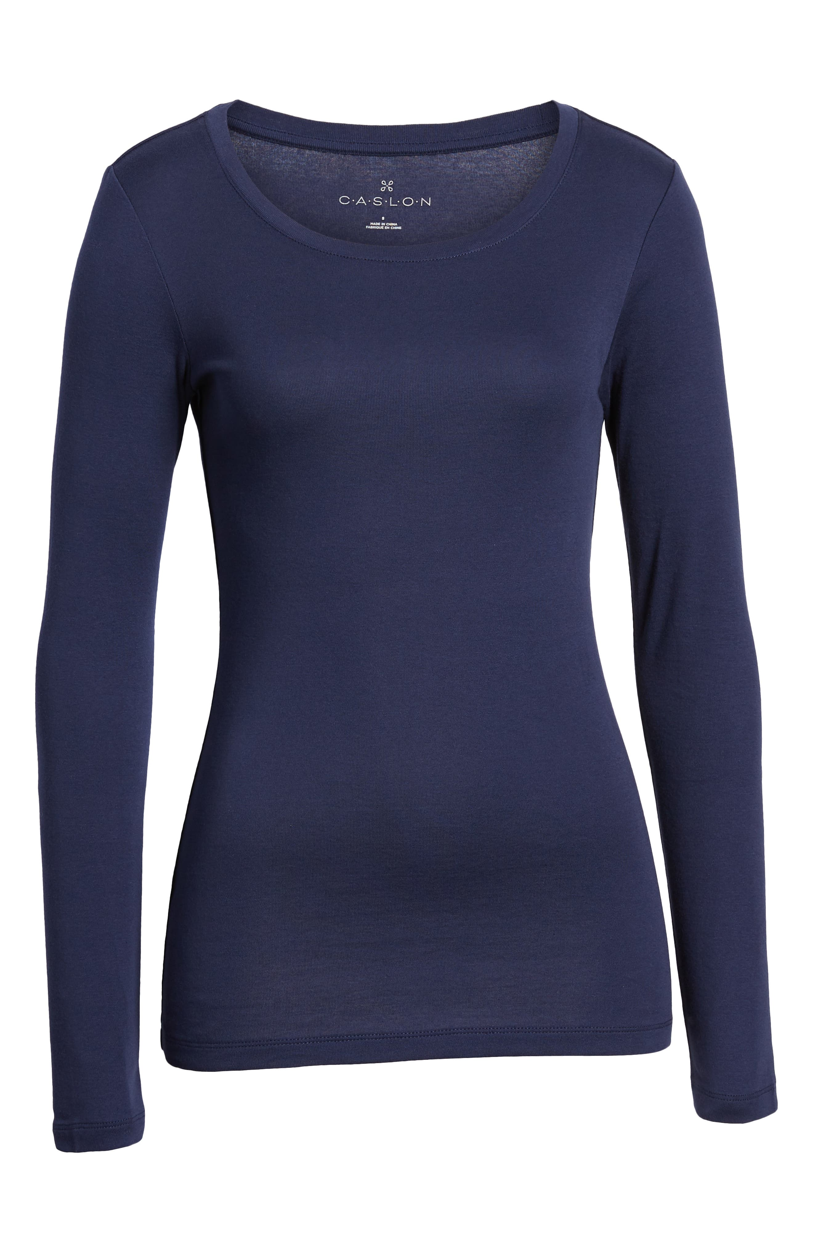Long Sleeve Scoop Neck Cotton Tee,                             Alternate thumbnail 7, color,                             NAVY PEACOAT