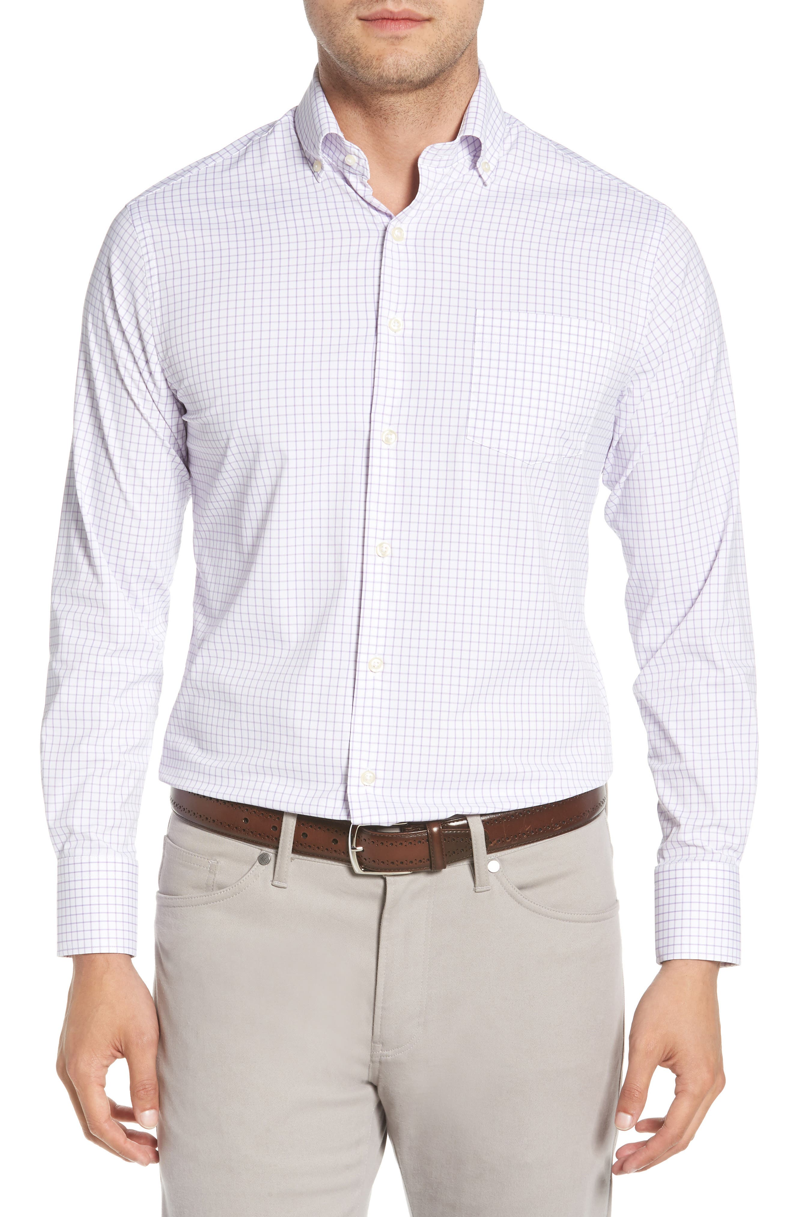 Captain Performance Tattersall Sport Shirt,                         Main,                         color, MUSCADINE