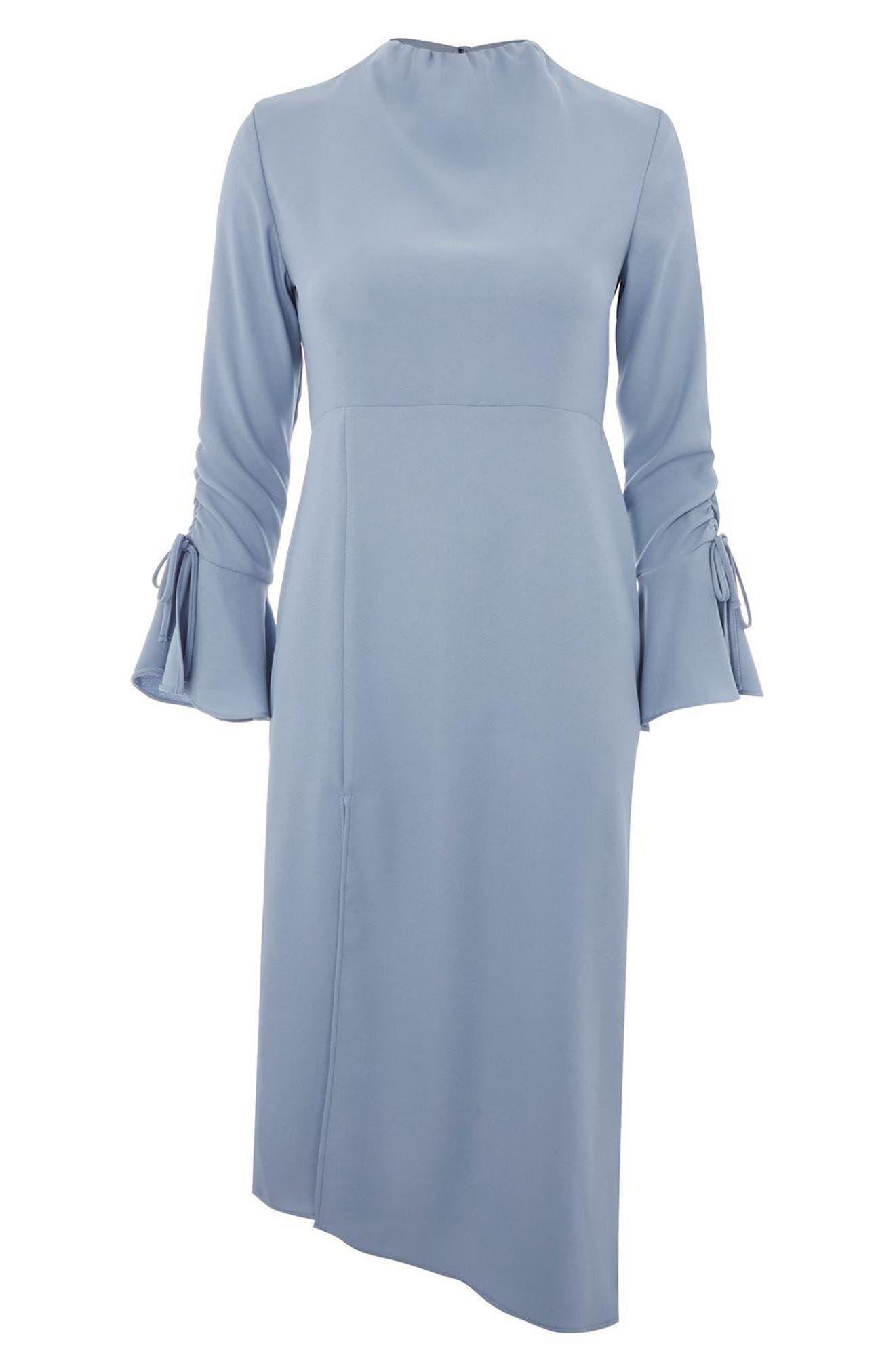 Ruched Asymmetrical Midi Dress,                             Alternate thumbnail 4, color,                             450