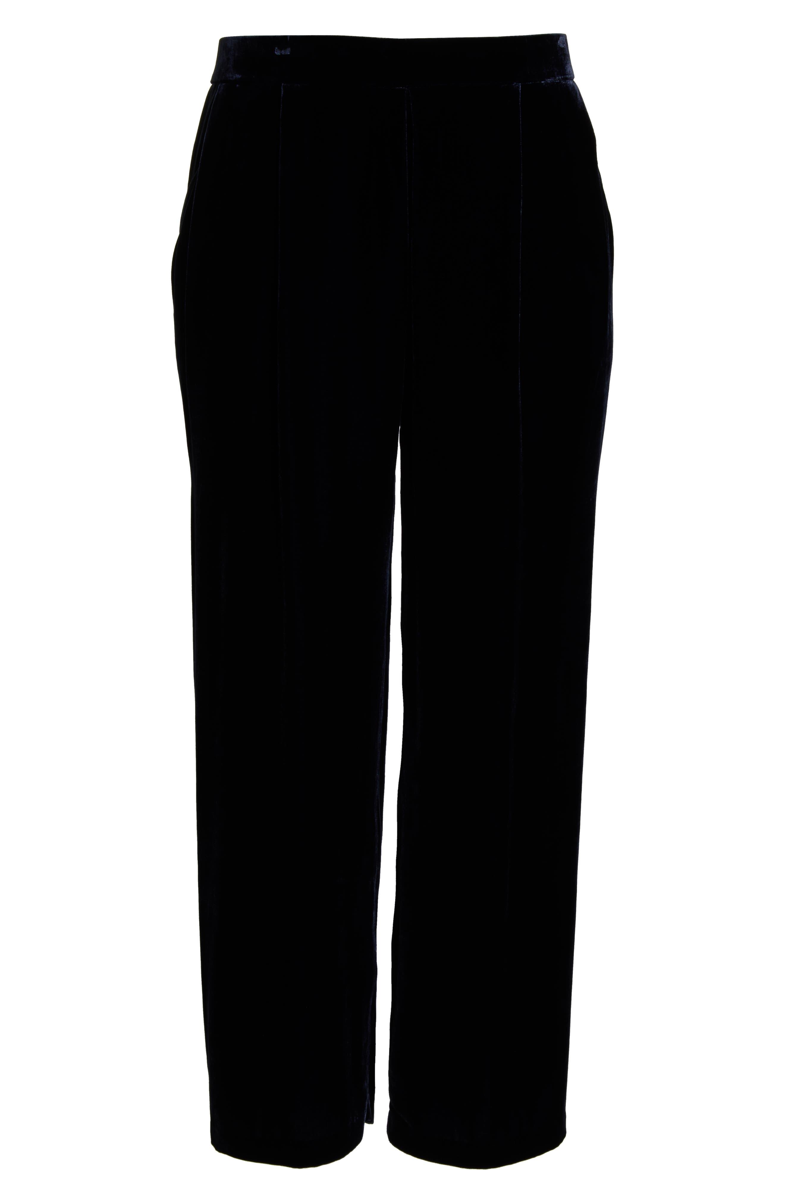High Rise Wide Leg Velvet Ankle Pants,                             Alternate thumbnail 6, color,                             MIDNIGHT
