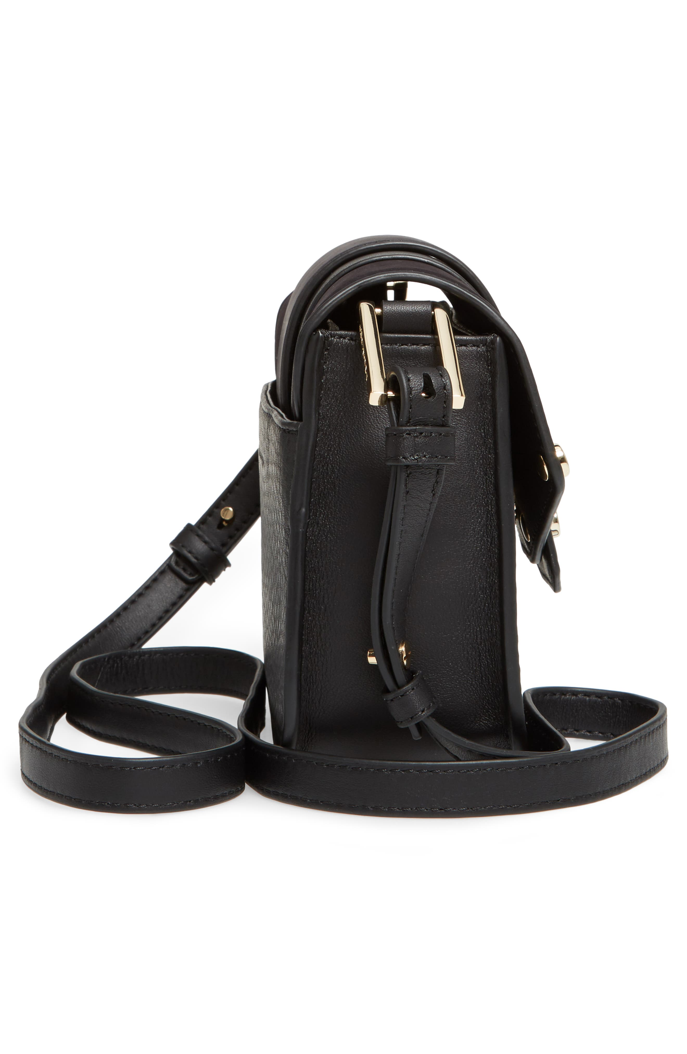 Mini Polly Leather Crossbody Bag,                             Alternate thumbnail 5, color,                             001
