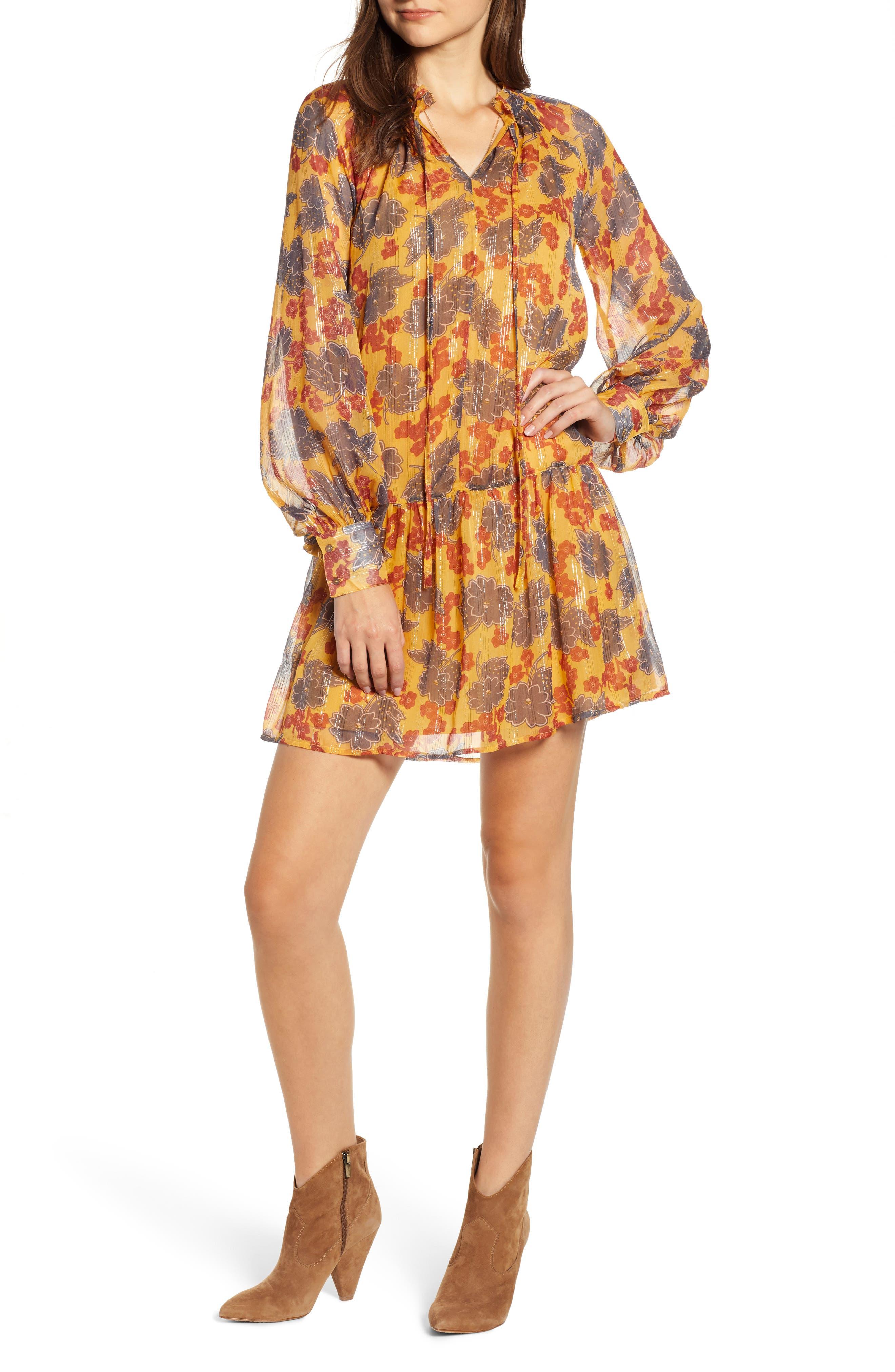 Metallic Stripe Floral Print Dress,                         Main,                         color, YELLOW AND BURGUNDY