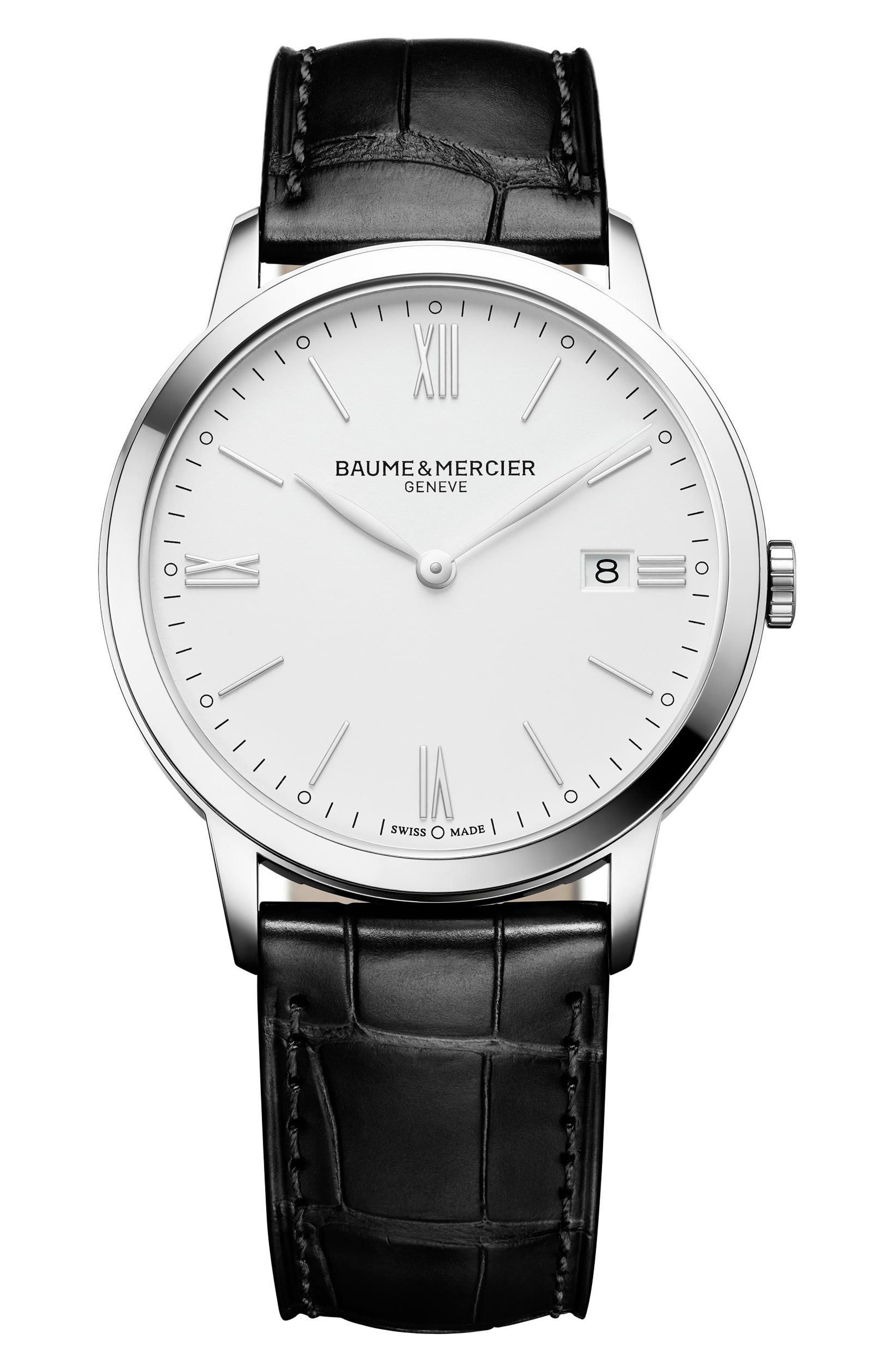 Baume & Mercier Classima Leather Strap Watch, 40mm,                         Main,                         color, SILVER/ BROWN
