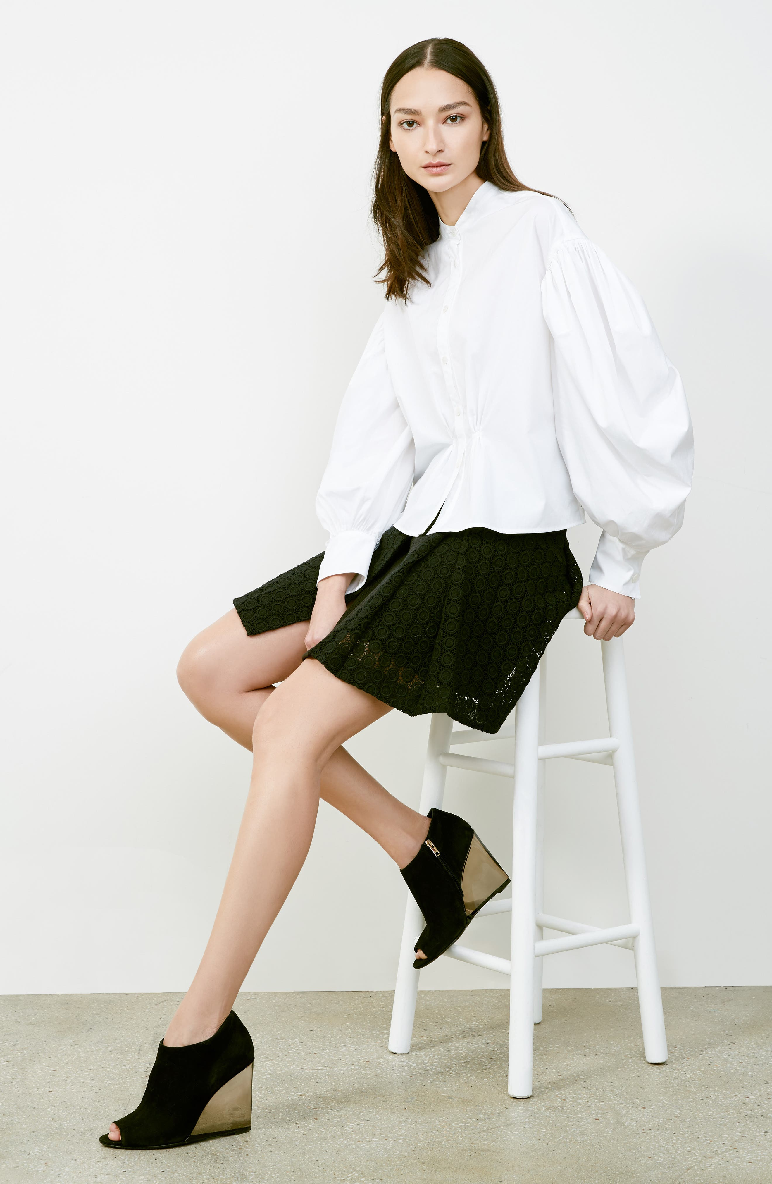 Howe Mixed Lace Pleated Wrap Skirt,                             Alternate thumbnail 6, color,                             001