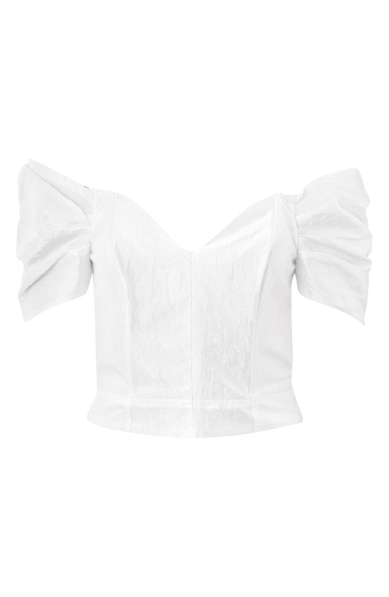 Puff Sleeve Taffeta Off the Shoulder Top,                             Alternate thumbnail 5, color,                             900