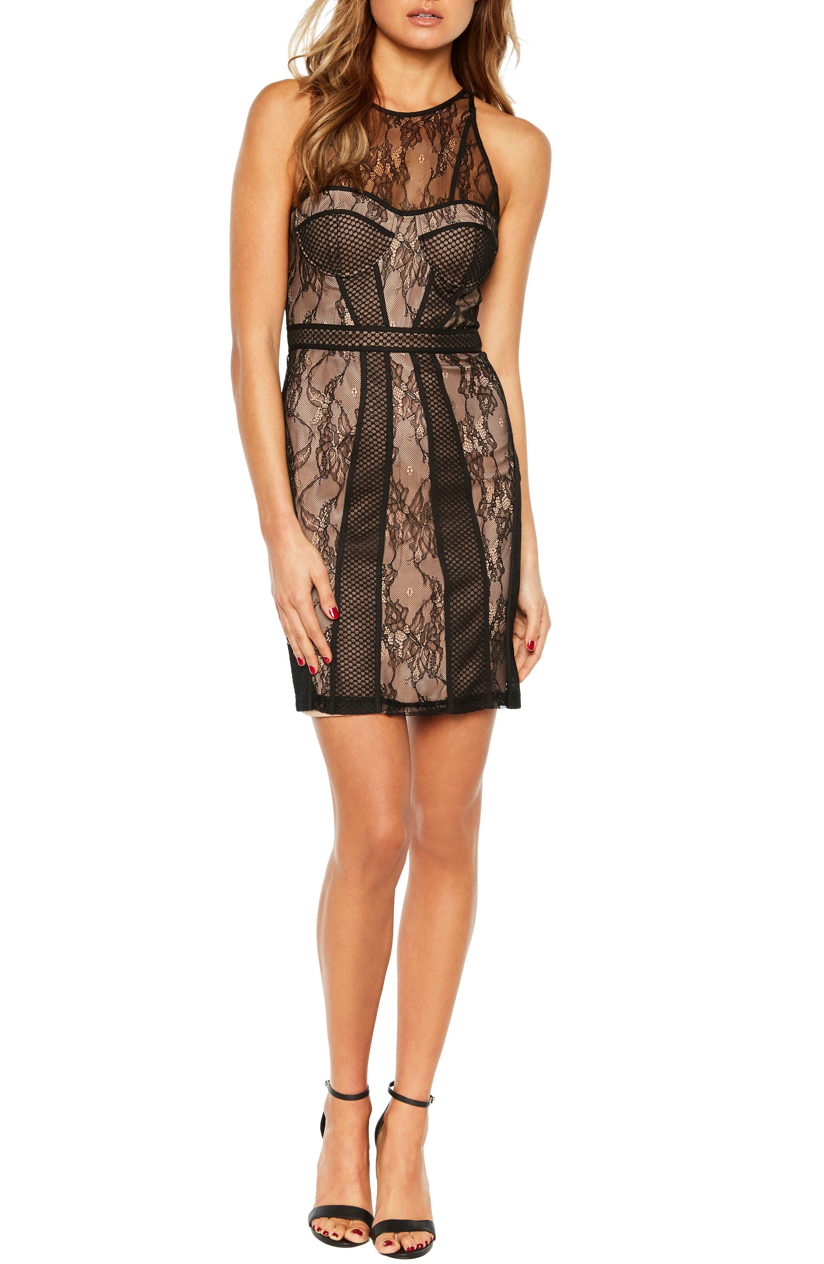 BARDOT Jenny Splice Sheath Dress, Main, color, 001