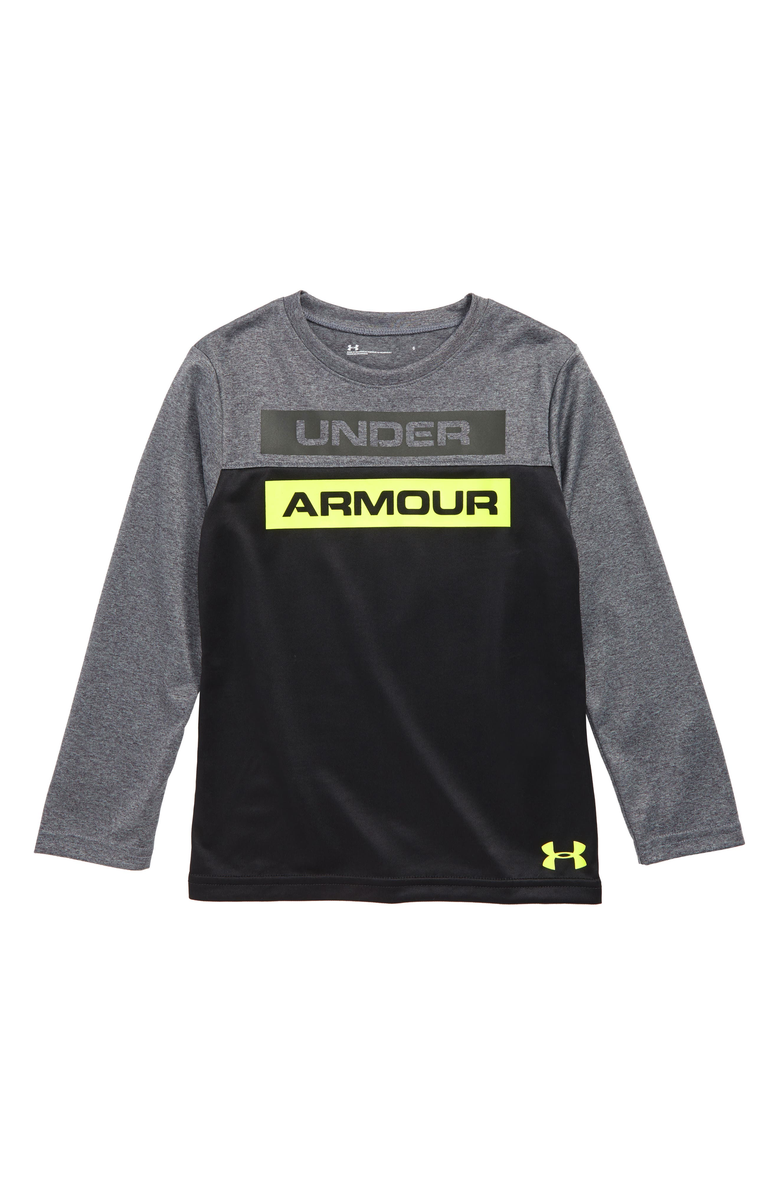 Boys Under Armour Blocked Wordmark Graphic TShirt Size 7  Grey