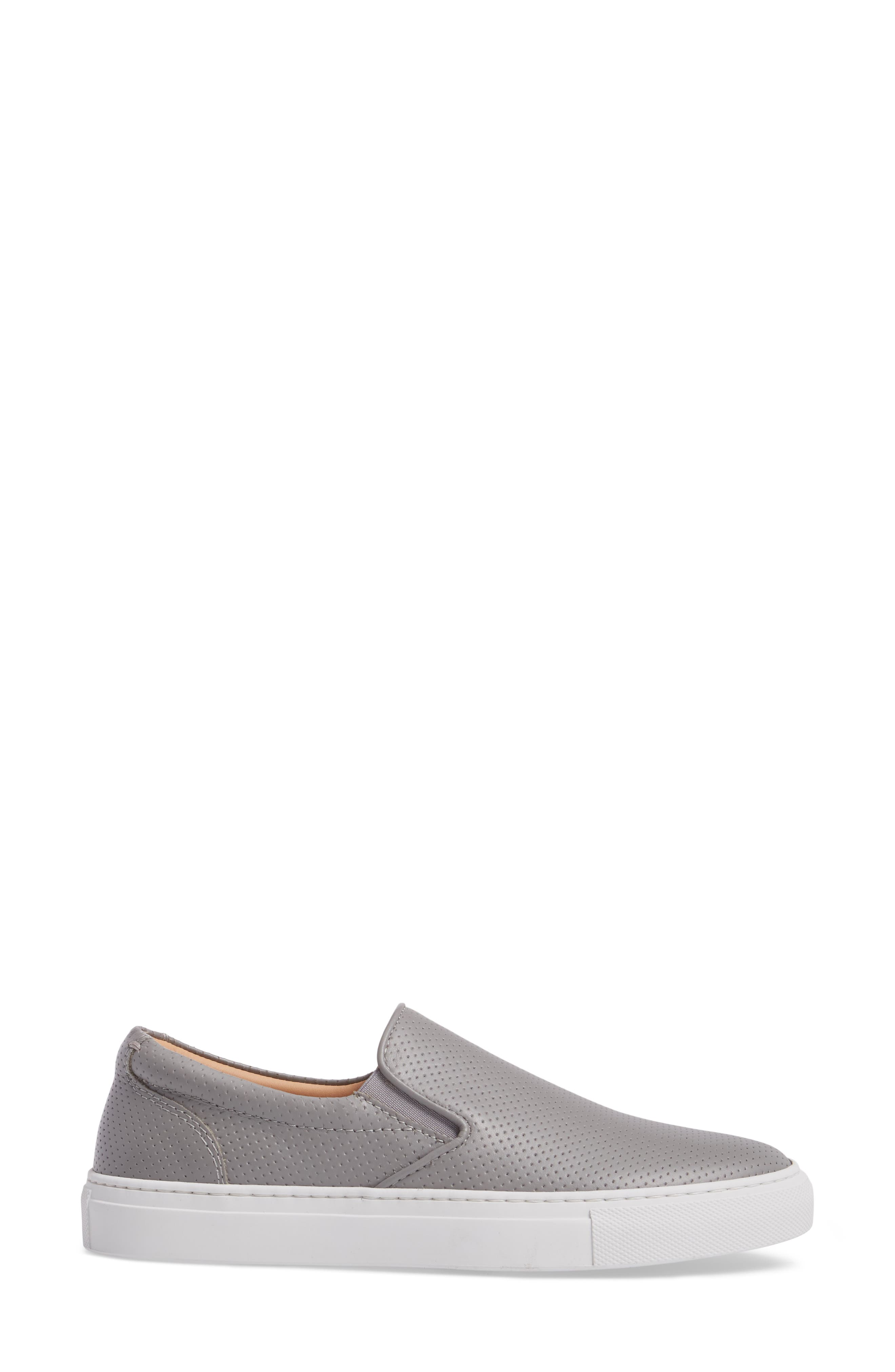 Wooster Slip-On Sneaker,                             Alternate thumbnail 3, color,                             GREY PERFORATED