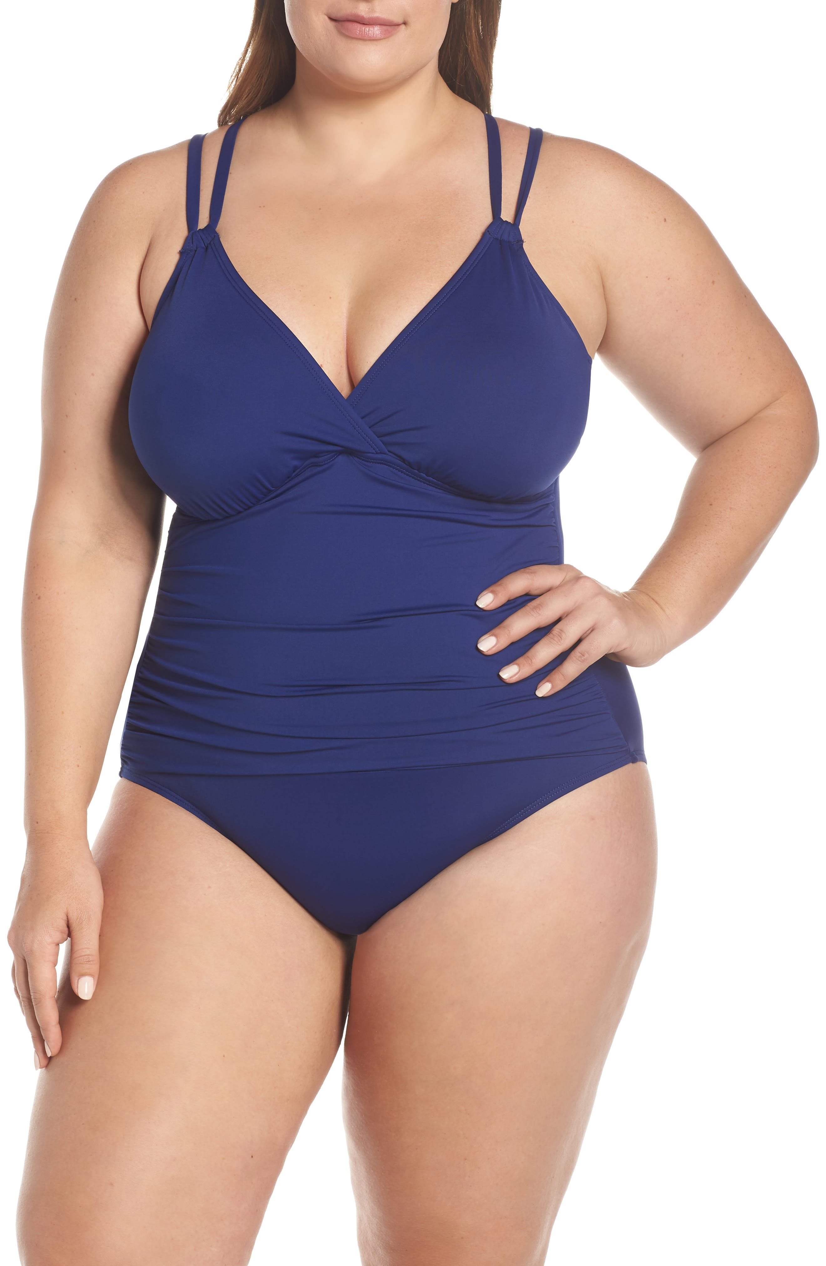 Plus Size La Blanca Surplice One-Piece Swimsuit, Blue