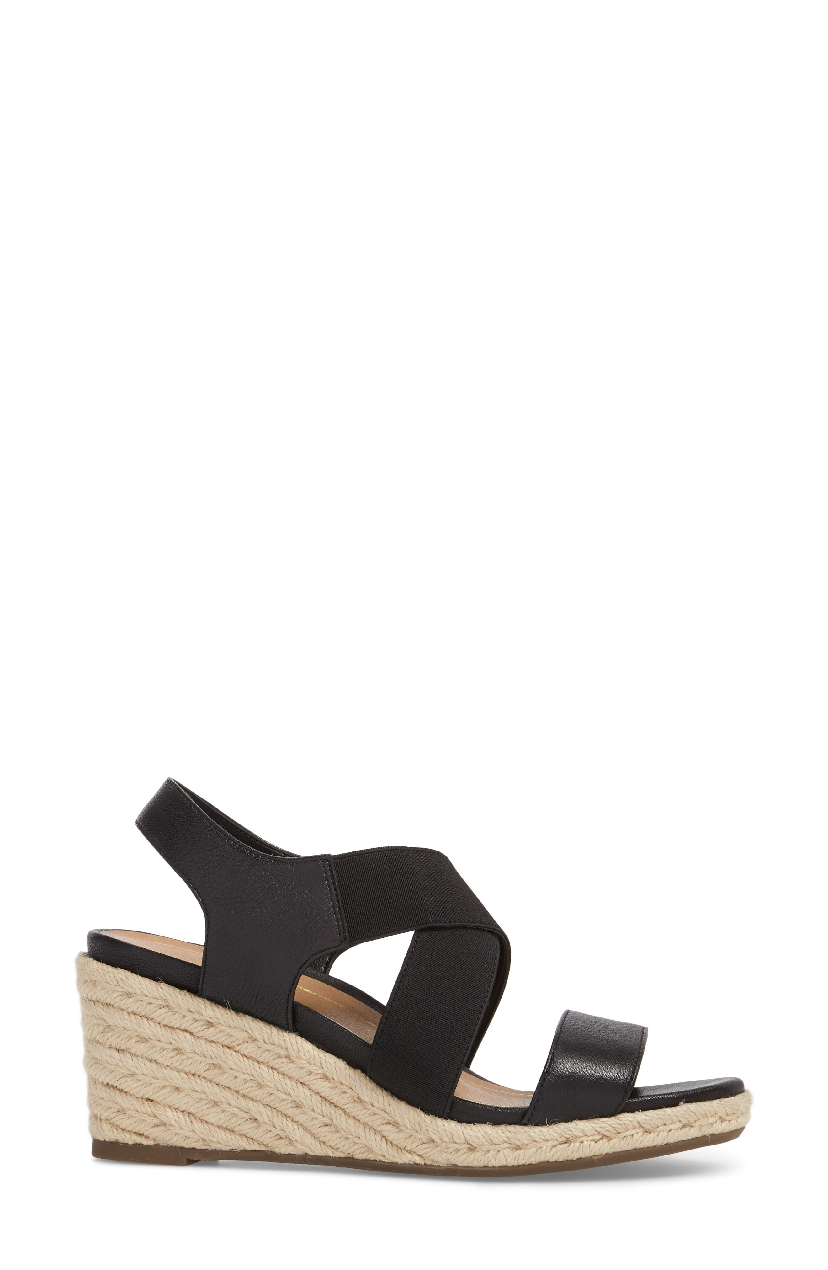 Ainsleigh Wedge Sandal,                             Alternate thumbnail 3, color,                             BLACK LEATHER