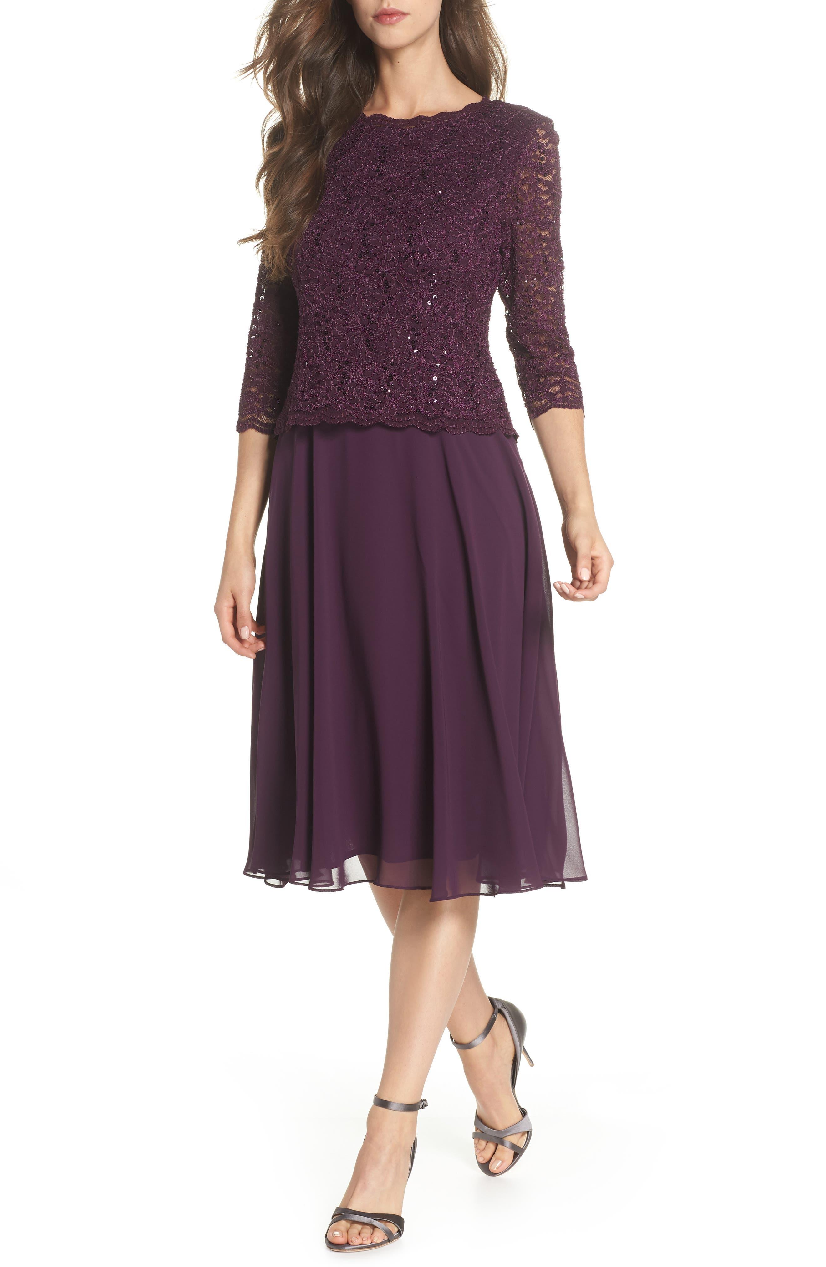 Alex Evenings Mock Two-Piece Tea Length Dress, Purple
