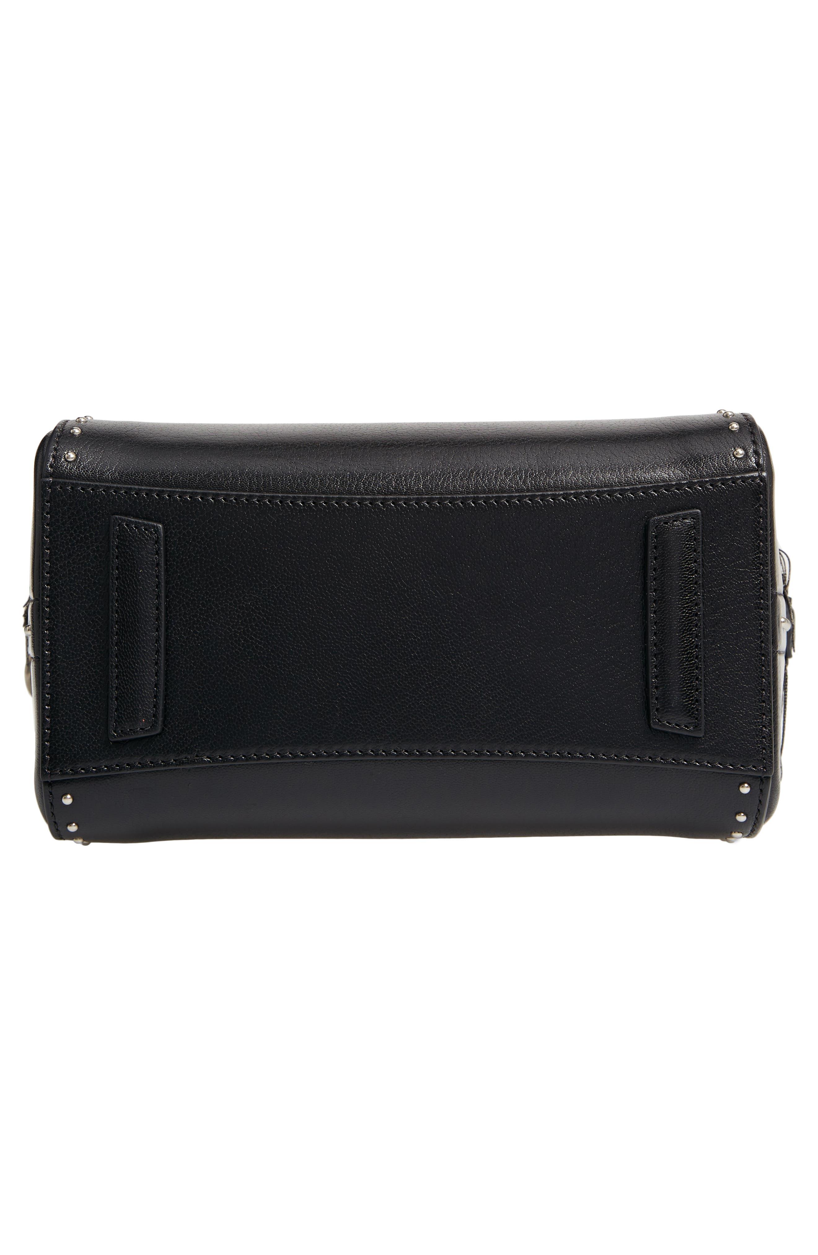 Mini Antigona Fringe & Stud Leather Satchel,                             Alternate thumbnail 6, color,                             BLACK