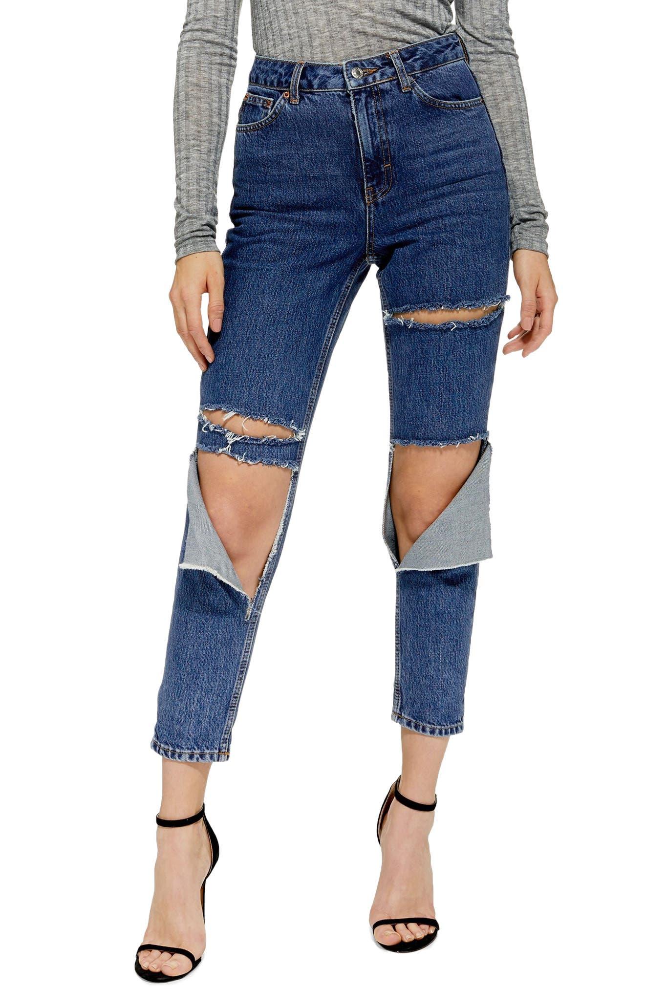 Slash Mom Jeans,                             Main thumbnail 1, color,                             MID DENIM