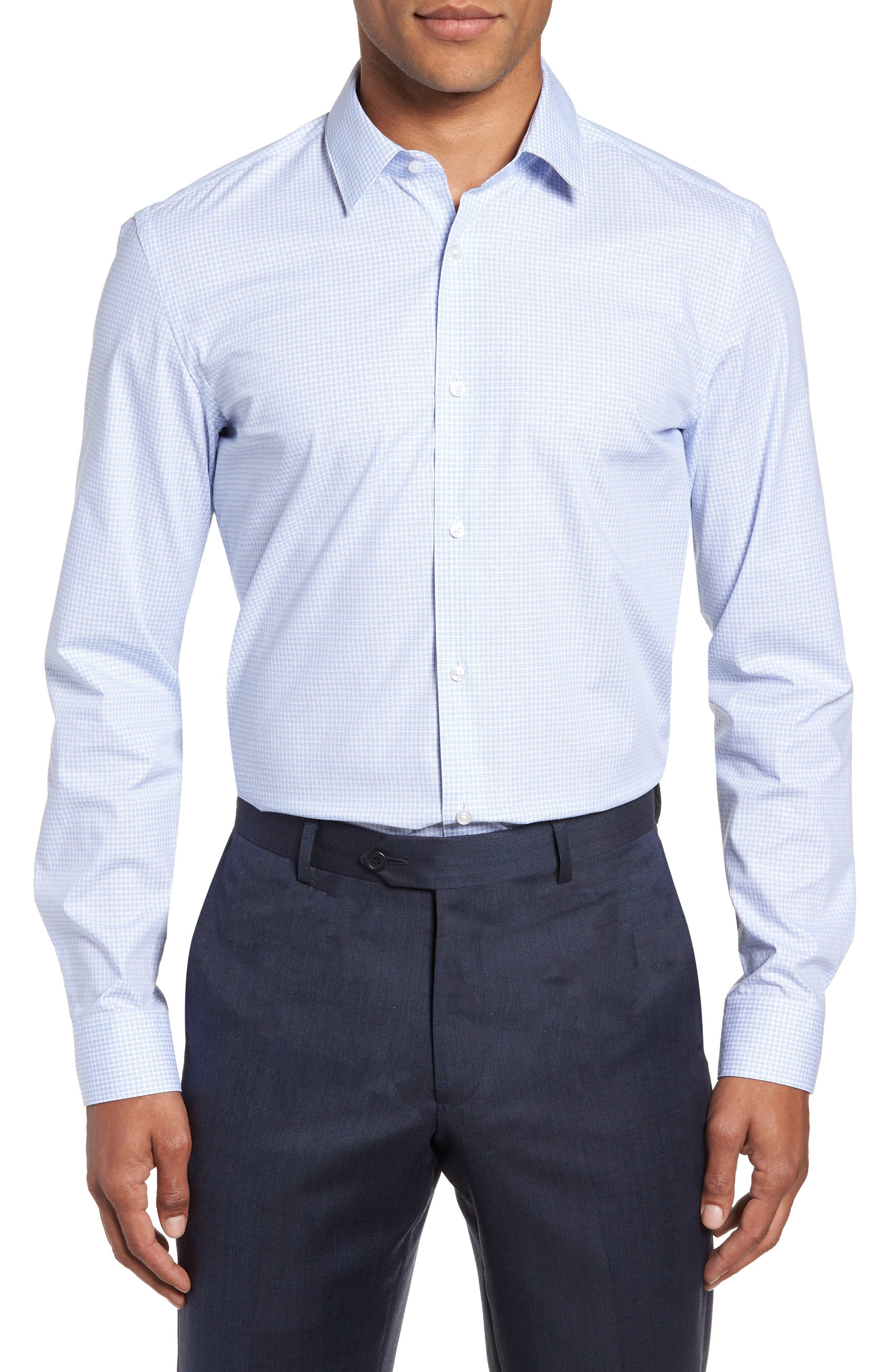 Isko Slim Fit Stretch Check Dress Shirt,                         Main,                         color, 450