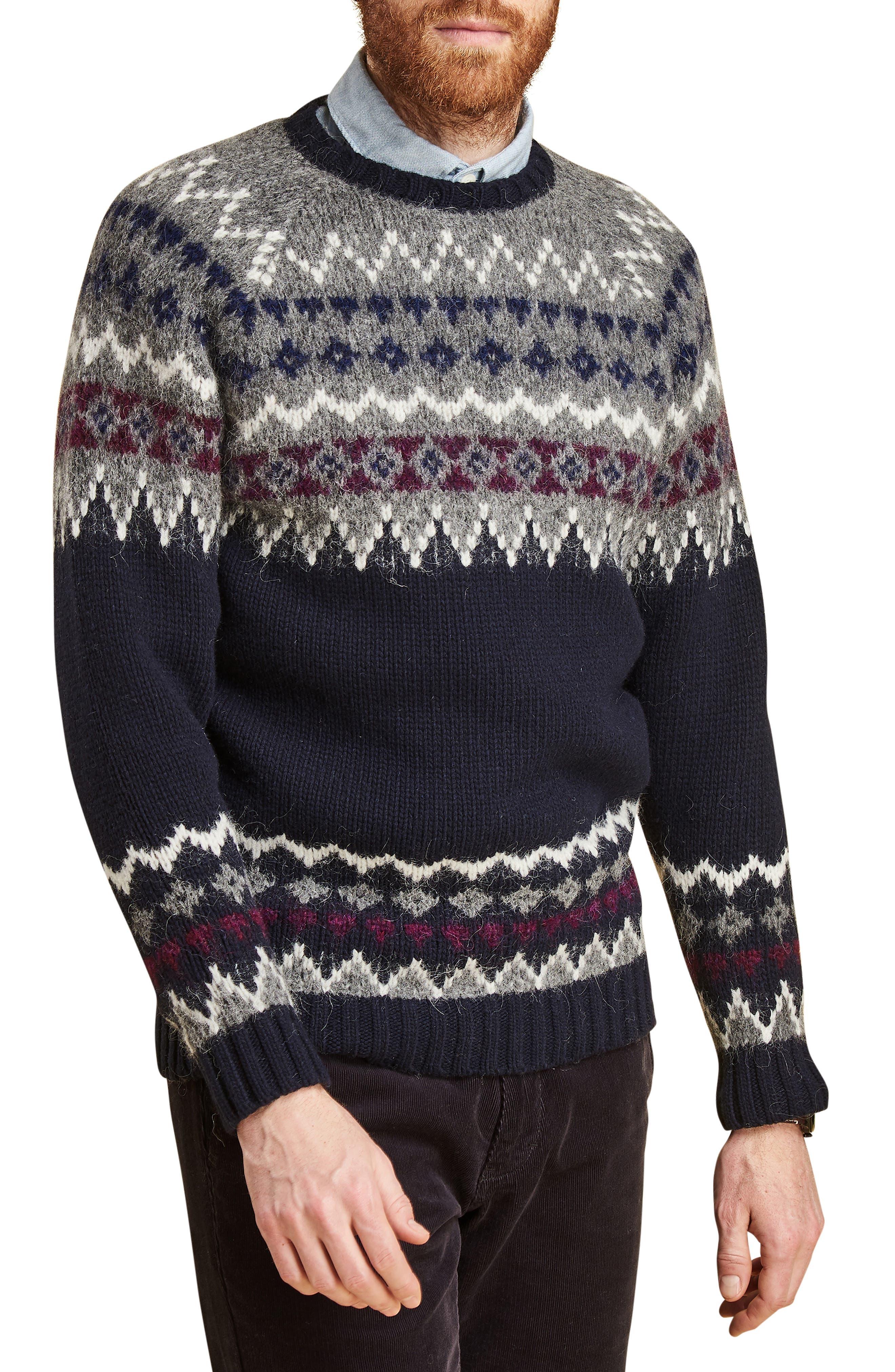 Barbour Wetheral Fair Isle Crewneck Regular Fit Sweater, Blue
